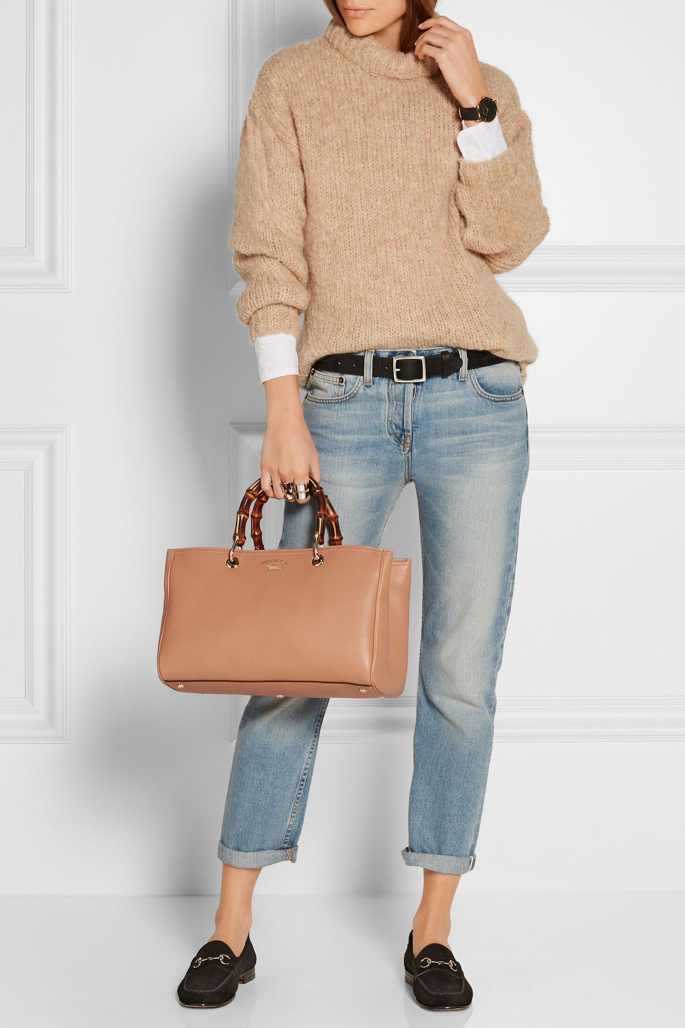 d0191dcbf91 Gucci Bamboo Shopper Medium Textured-leather Tote in Natural - Lyst