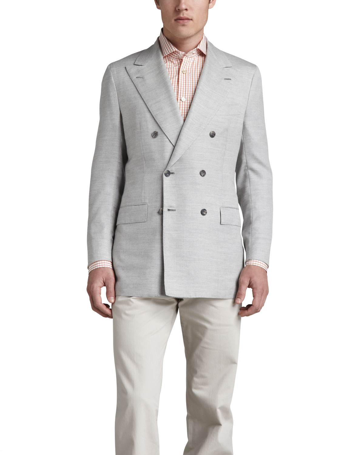 Kiton Basketweave Double-breasted Blazer in Gray for Men | Lyst
