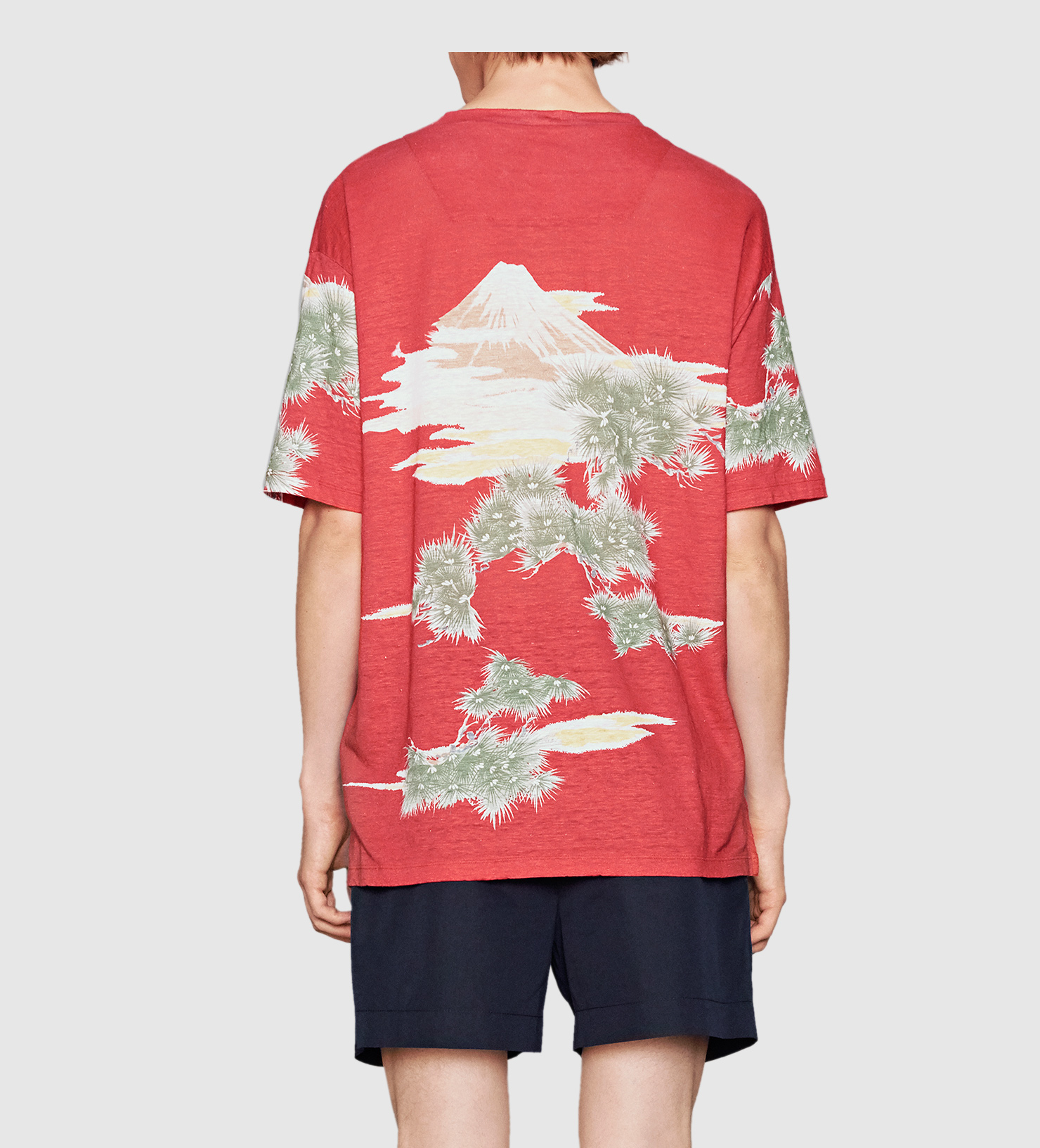 32319424507 Lyst - Gucci Eagle Print Linen Jersey T-shirt in Red for Men
