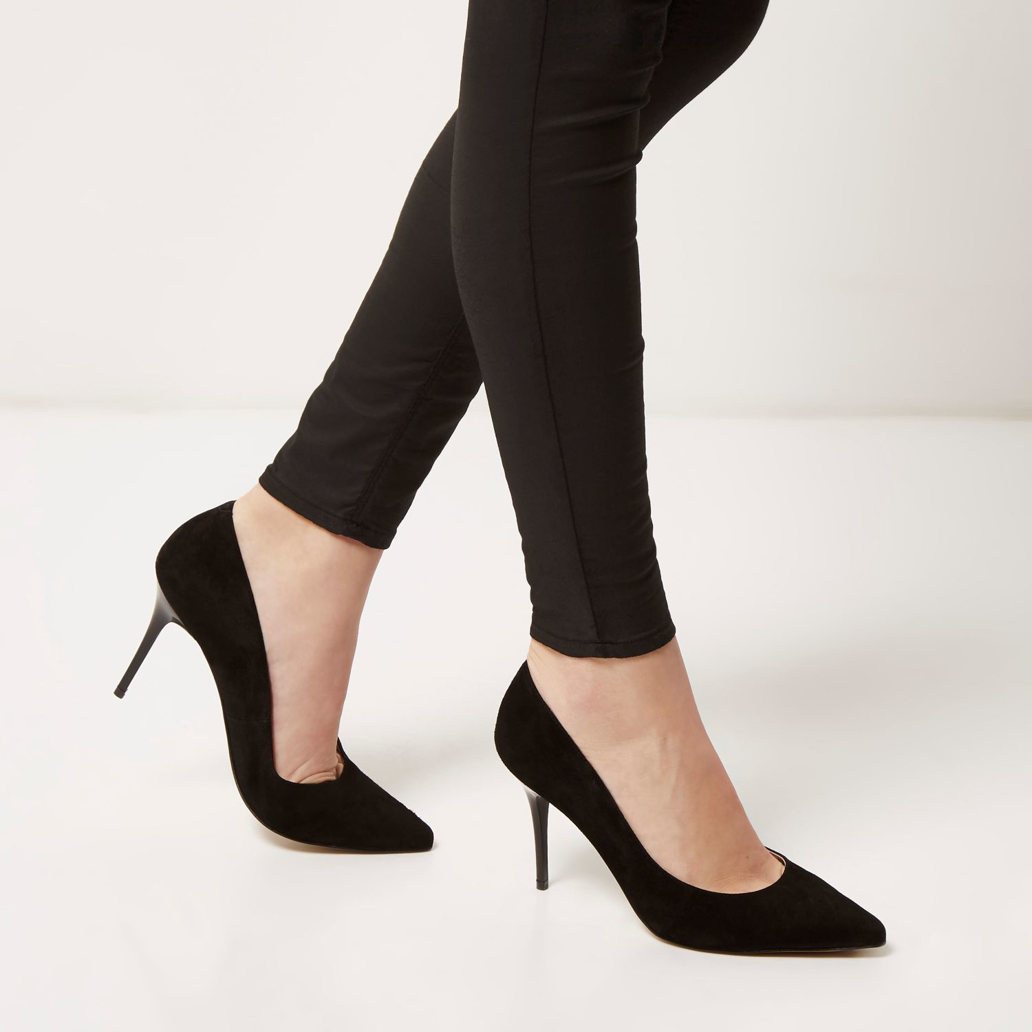 ae495e90adb River Island - Black Suede Pointed Mid Heel Court Shoes - Lyst