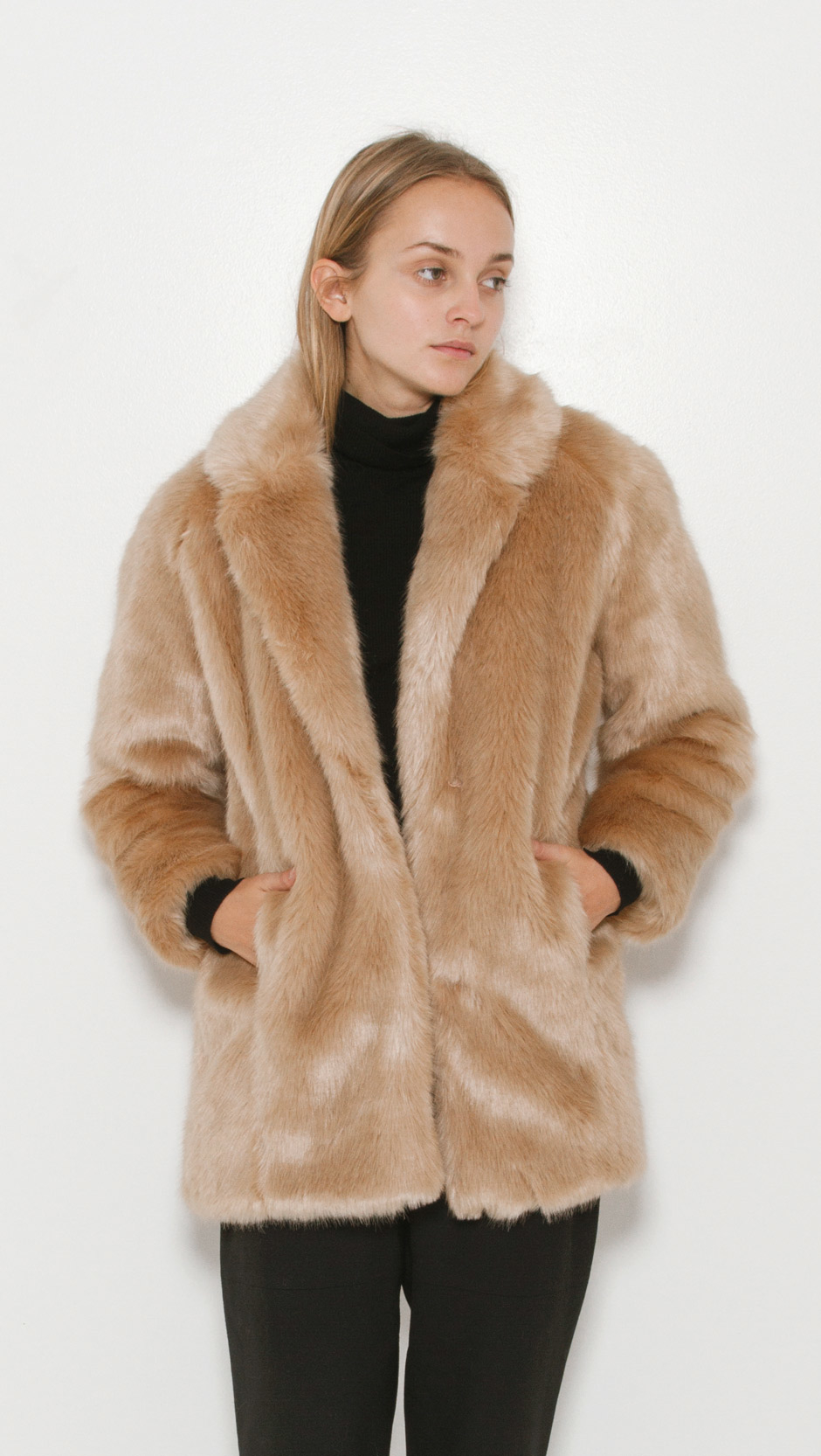 Designers Remix Faux Fur Coat In Natural Lyst