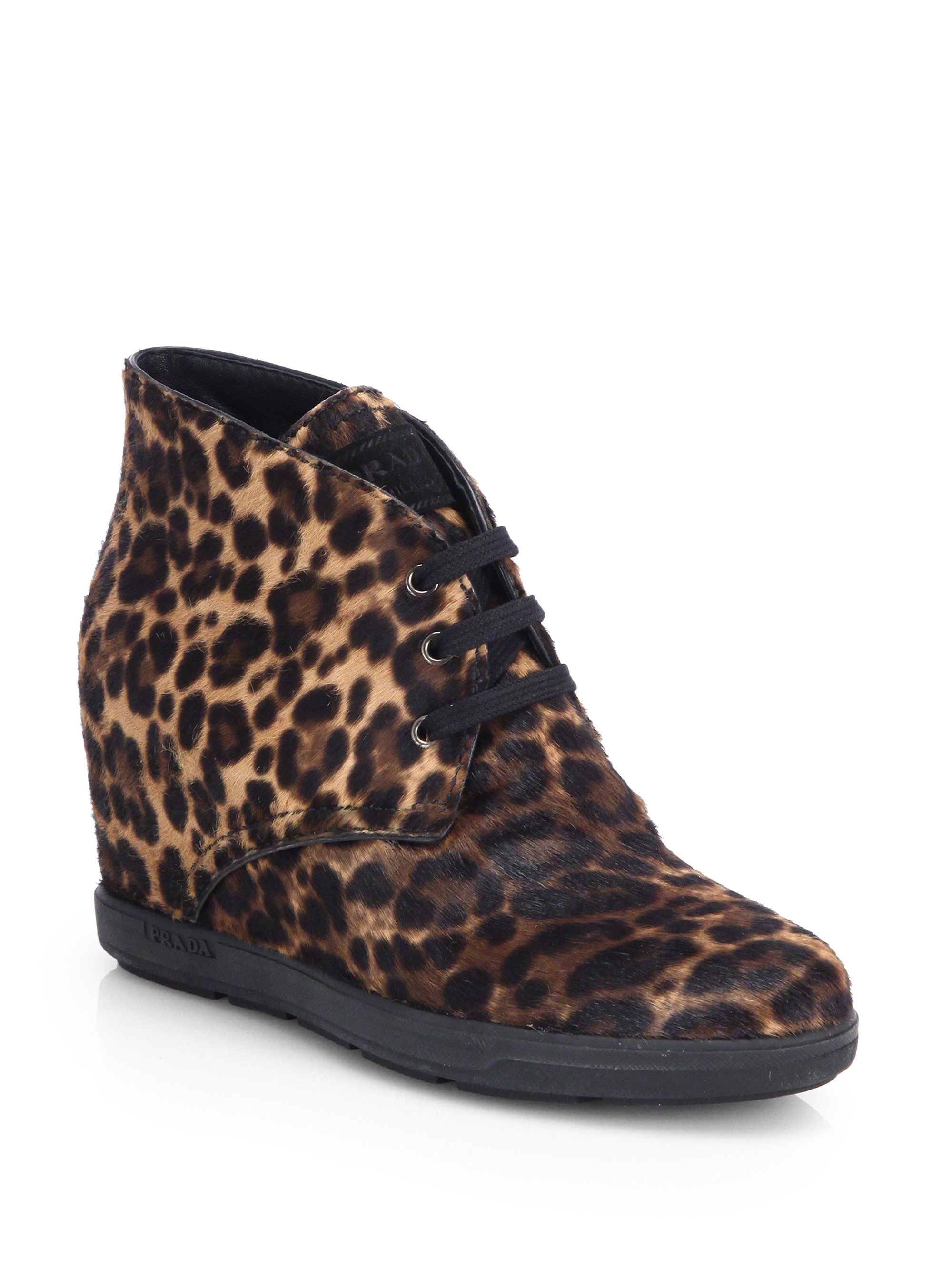 prada leopardprint calf hair wedge sneakers in animal leopard lyst. Black Bedroom Furniture Sets. Home Design Ideas