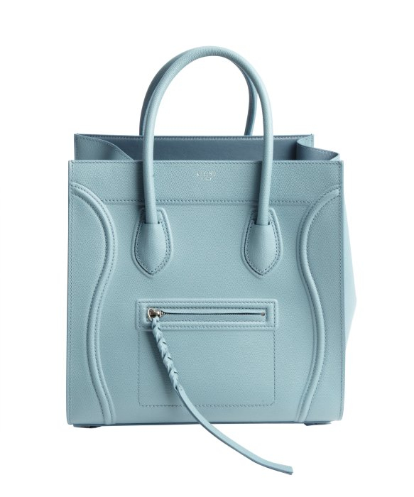 C¨¦line Sky Blue Leather \u0026#39;Phantom\u0026#39; Luggage Top Handle Square Tote ...