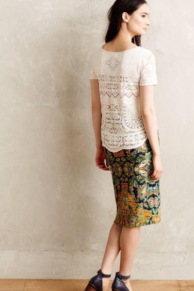 Meadow Rue Embroidered Mesh Tee In White Ivory Lyst