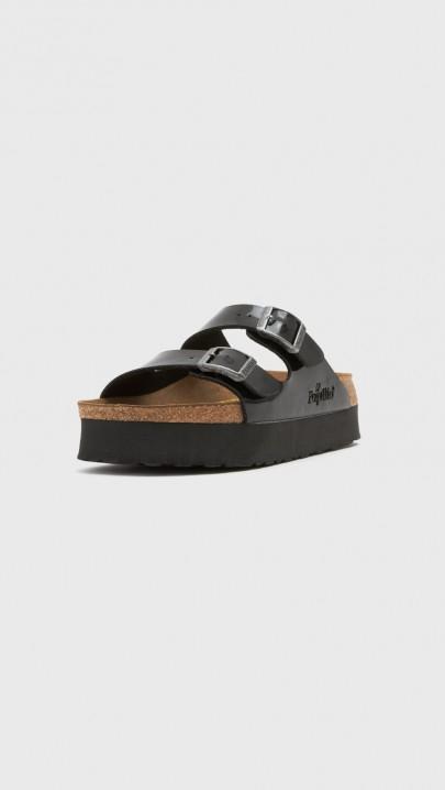 Lyst Birkenstock Patent Arizona Platform Sandals In Black