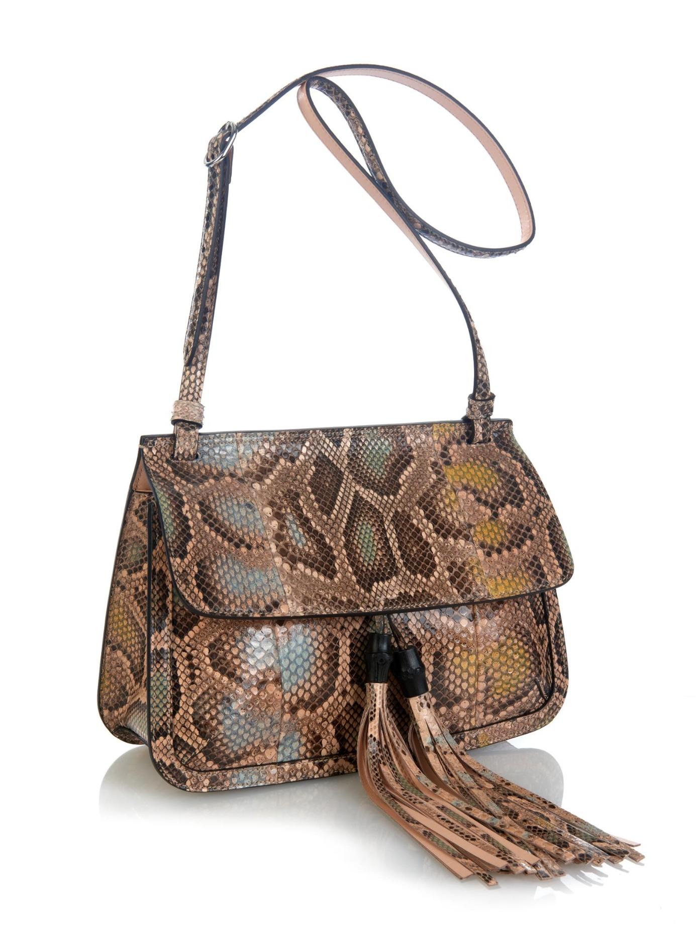 d7d3d2fa26d9 Gucci Bamboo Daily Python Cross-body Bag in Natural - Lyst