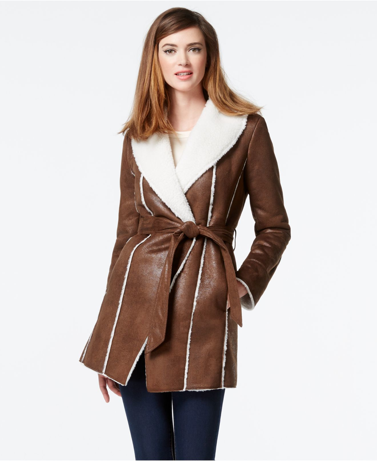Kenneth cole Faux-shearling Wrap Coat in Brown | Lyst