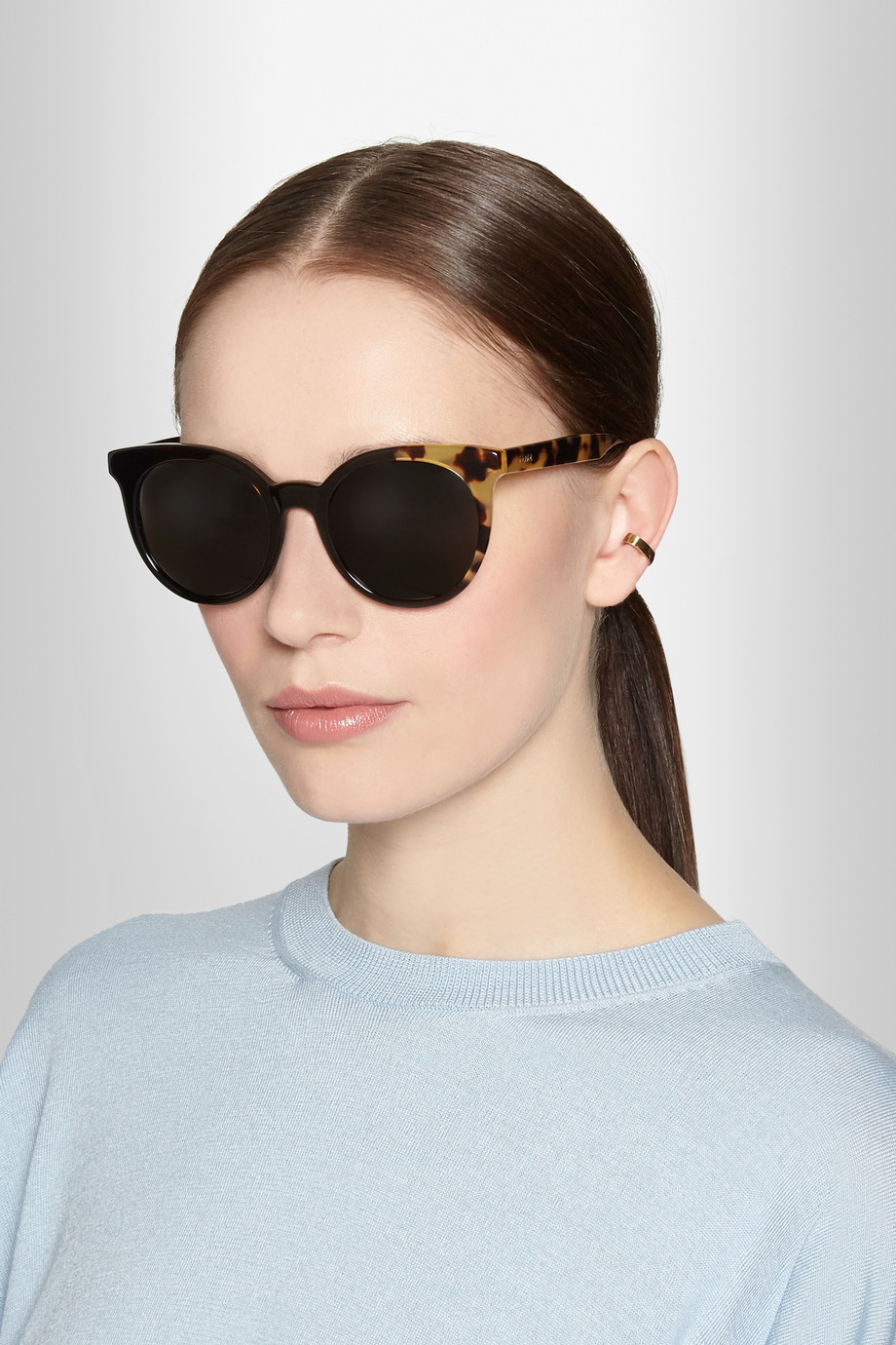 c3f38f6b75 Lyst - Fendi Round-Frame Acetate Sunglasses in Brown