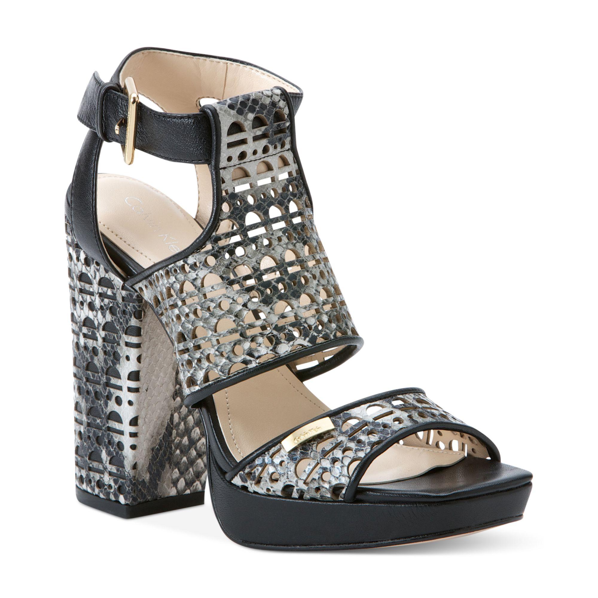 Lyst Calvin Klein Vallin Platform City Sandals In Gray