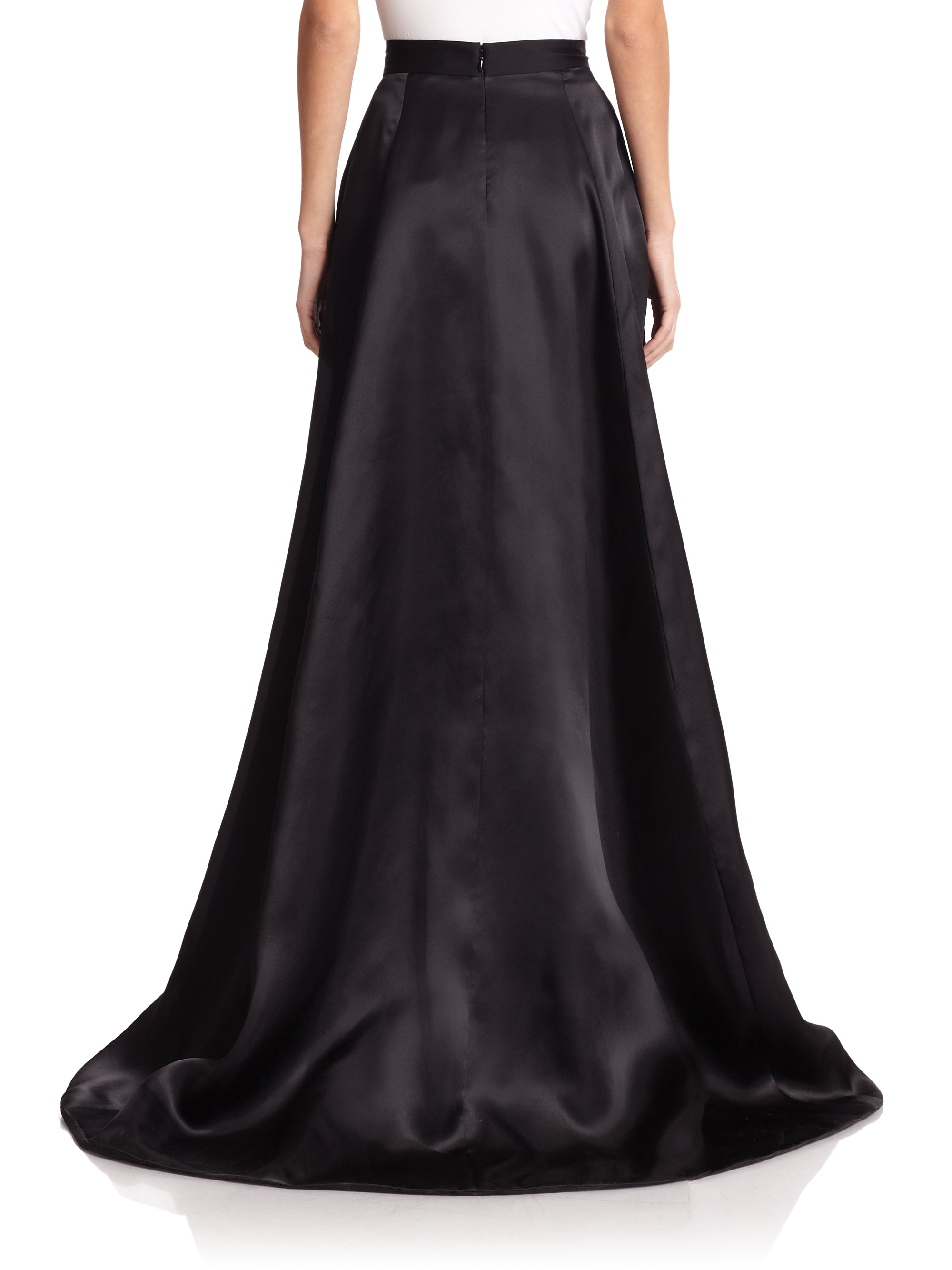 Lyst - St. John Silk Satin Ball Gown Skirt in Black