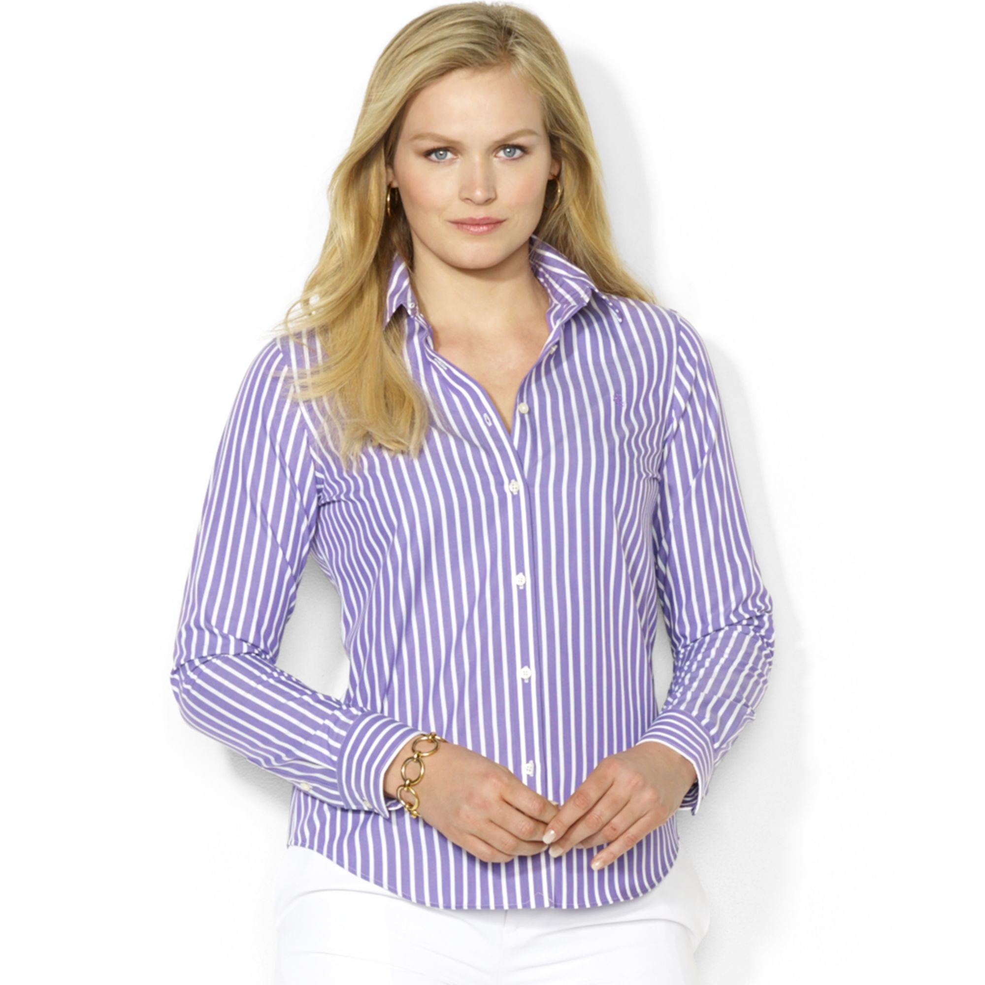 Lauren Ralph Lauren Väskor : Lauren by ralph plus size striped shirt in purple
