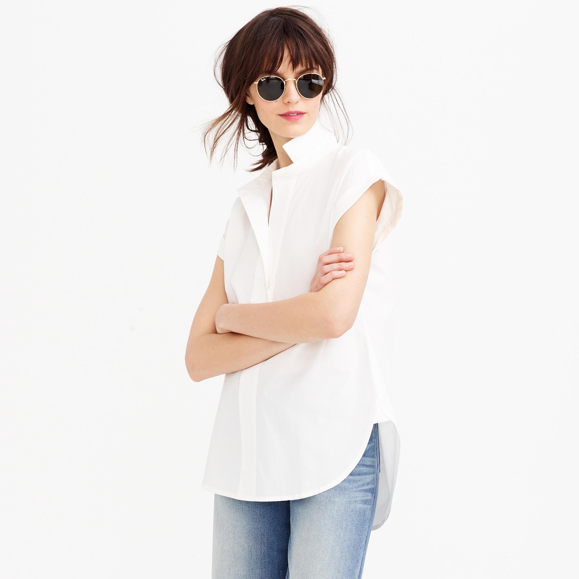 short sleeve popover shirt in white lyst