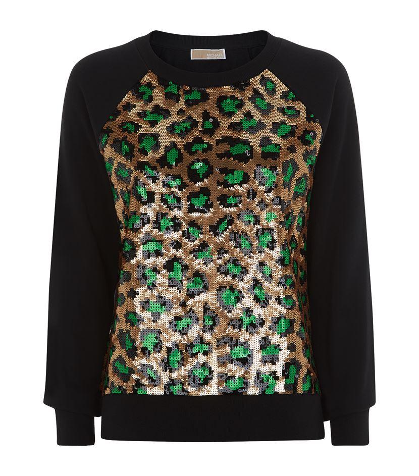 c314fce6c332 MICHAEL Michael Kors Sequin Leopard Print Sweater - Lyst
