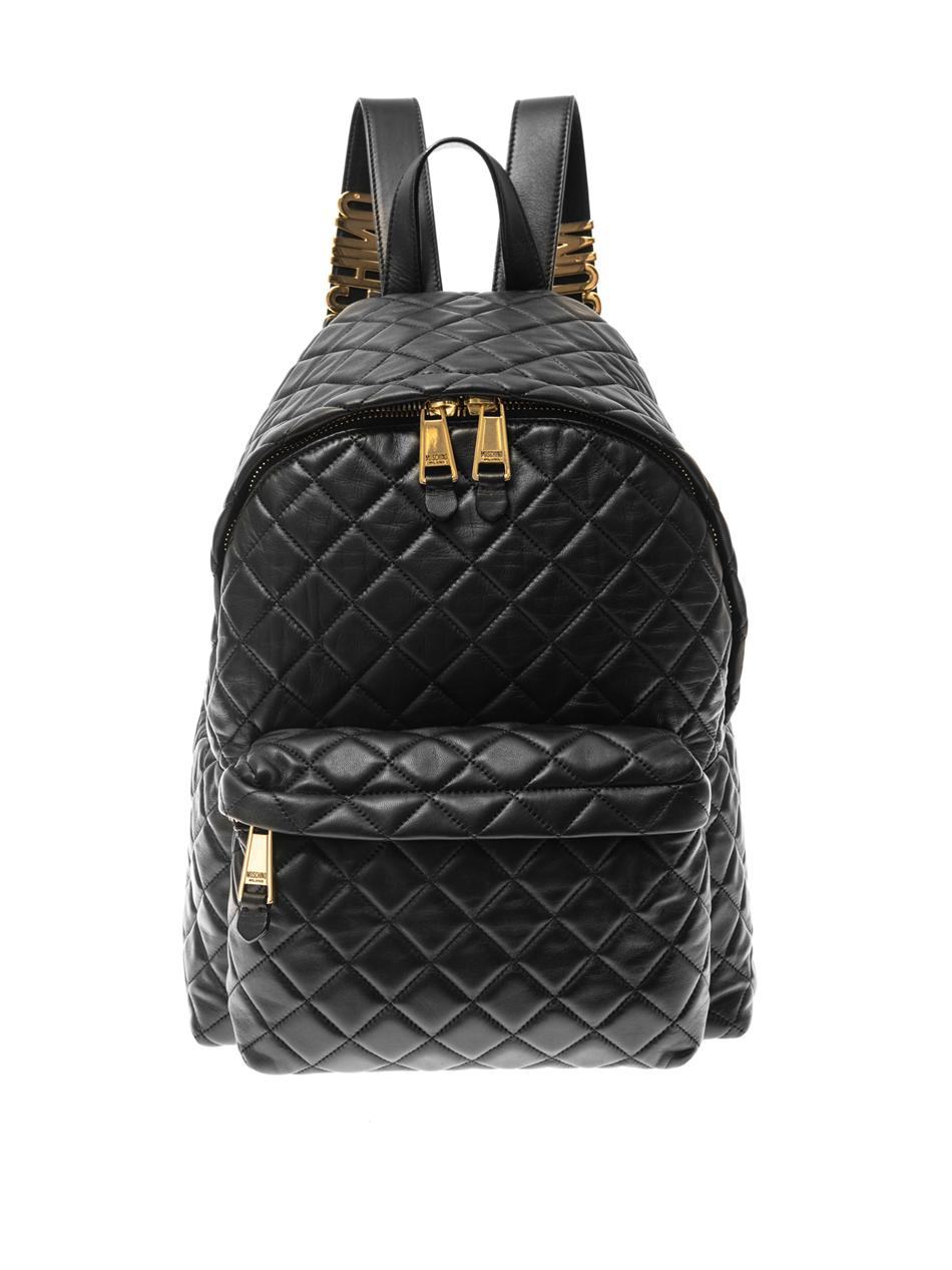 Moschino Quilted Leather Backpack In Black Lyst