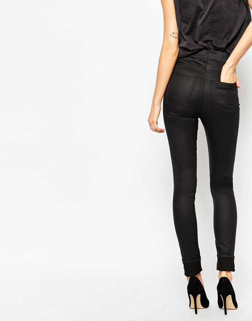 Cheap monday Second Skin High Waist Coated Skinny Jeans in Black ...