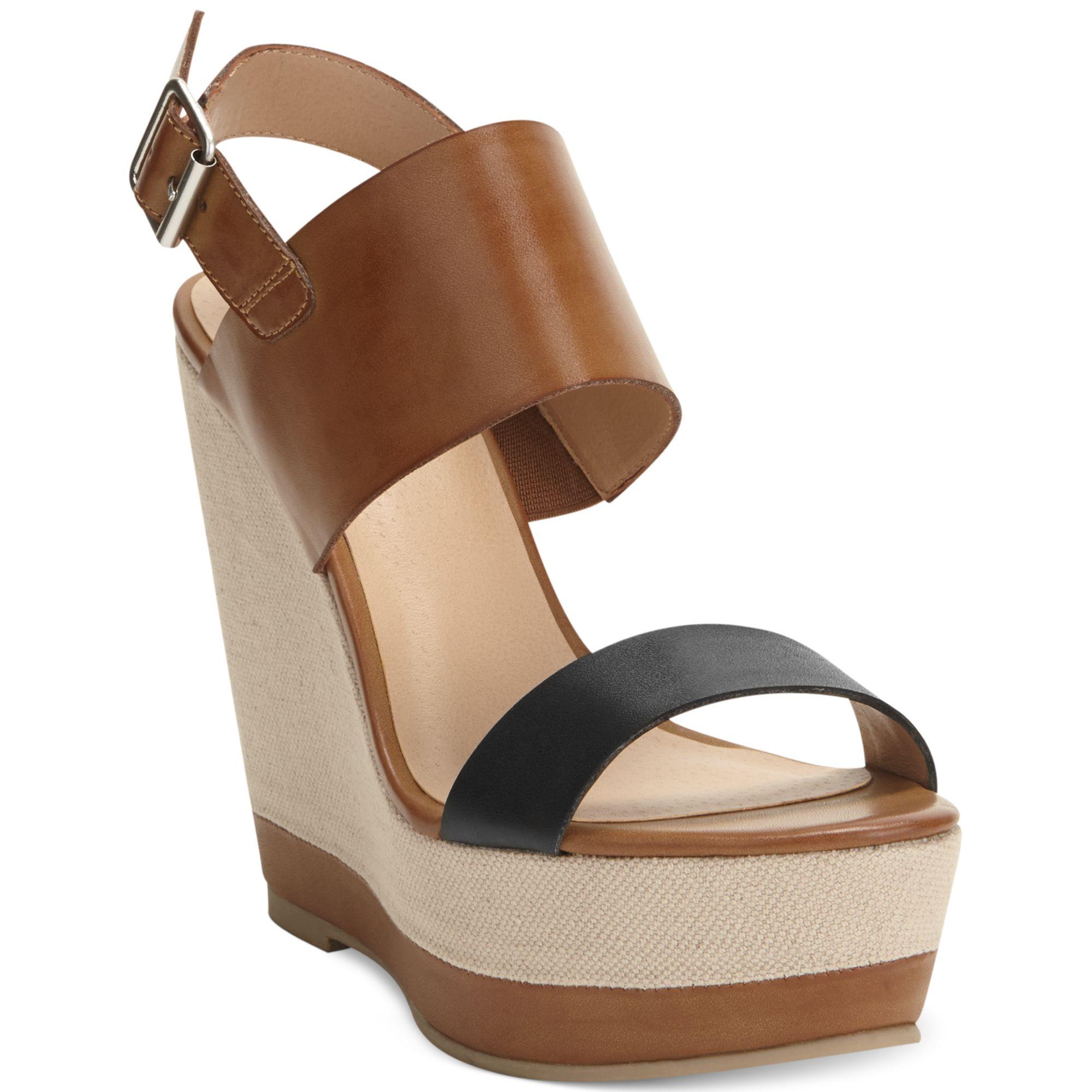 report nessa platform wedge sandals in brown lyst
