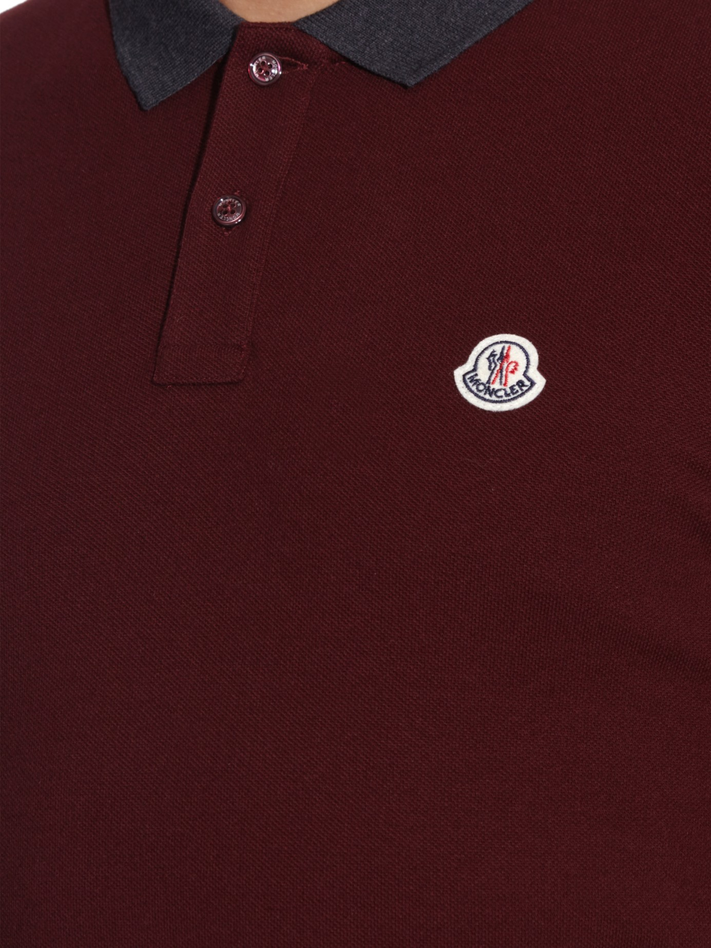 31d67ea9e Cotton Lyst Contrast Polo Purple Piqué Moncler Men Shirt In Collar ...