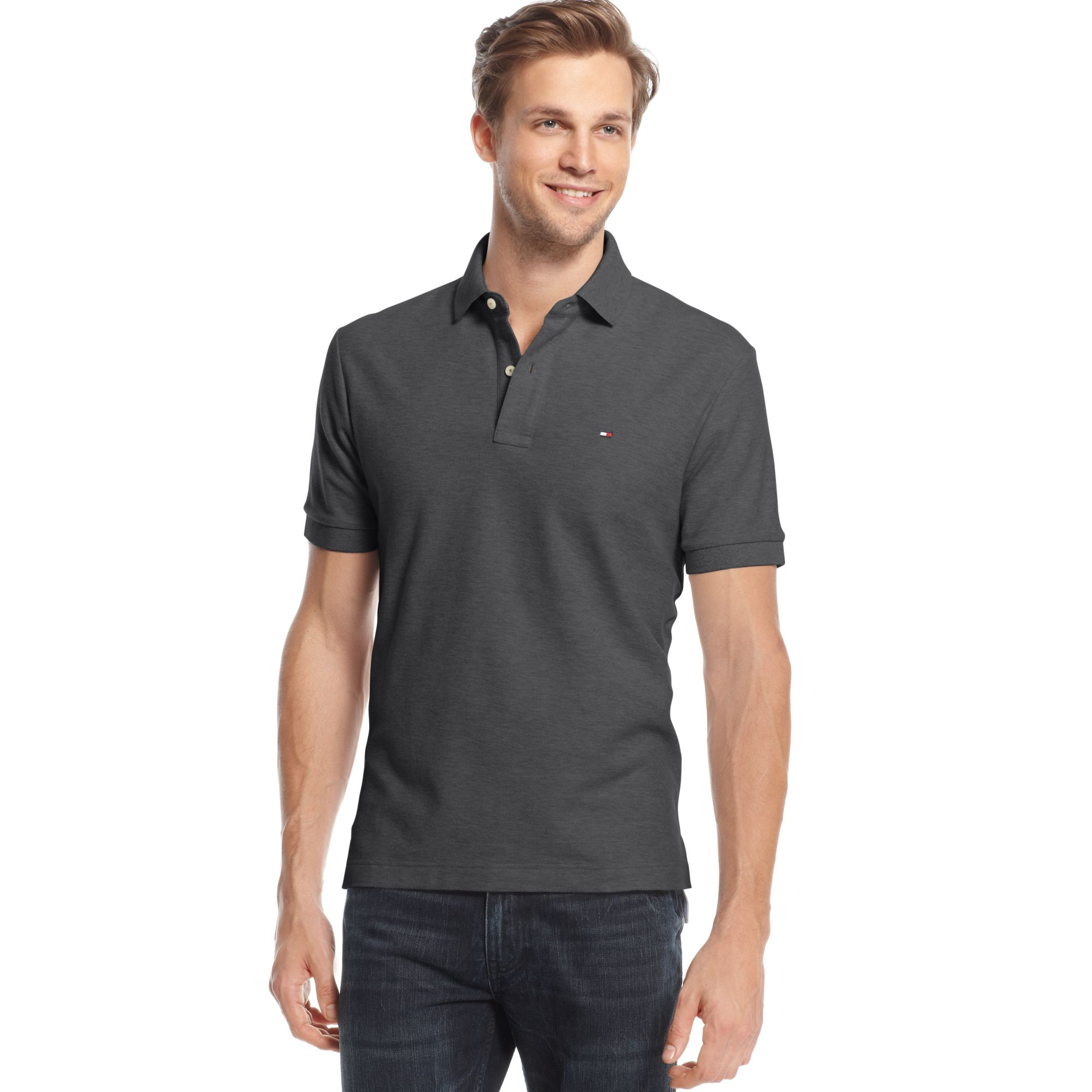 tommy hilfiger classic ivy polo shirt in gray for men medium grey lyst. Black Bedroom Furniture Sets. Home Design Ideas