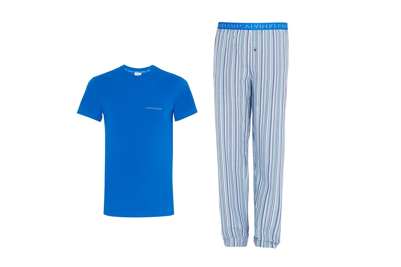 Calvin Klein Cotton Woven Pyjama Pant And Crew Neck Tshirt