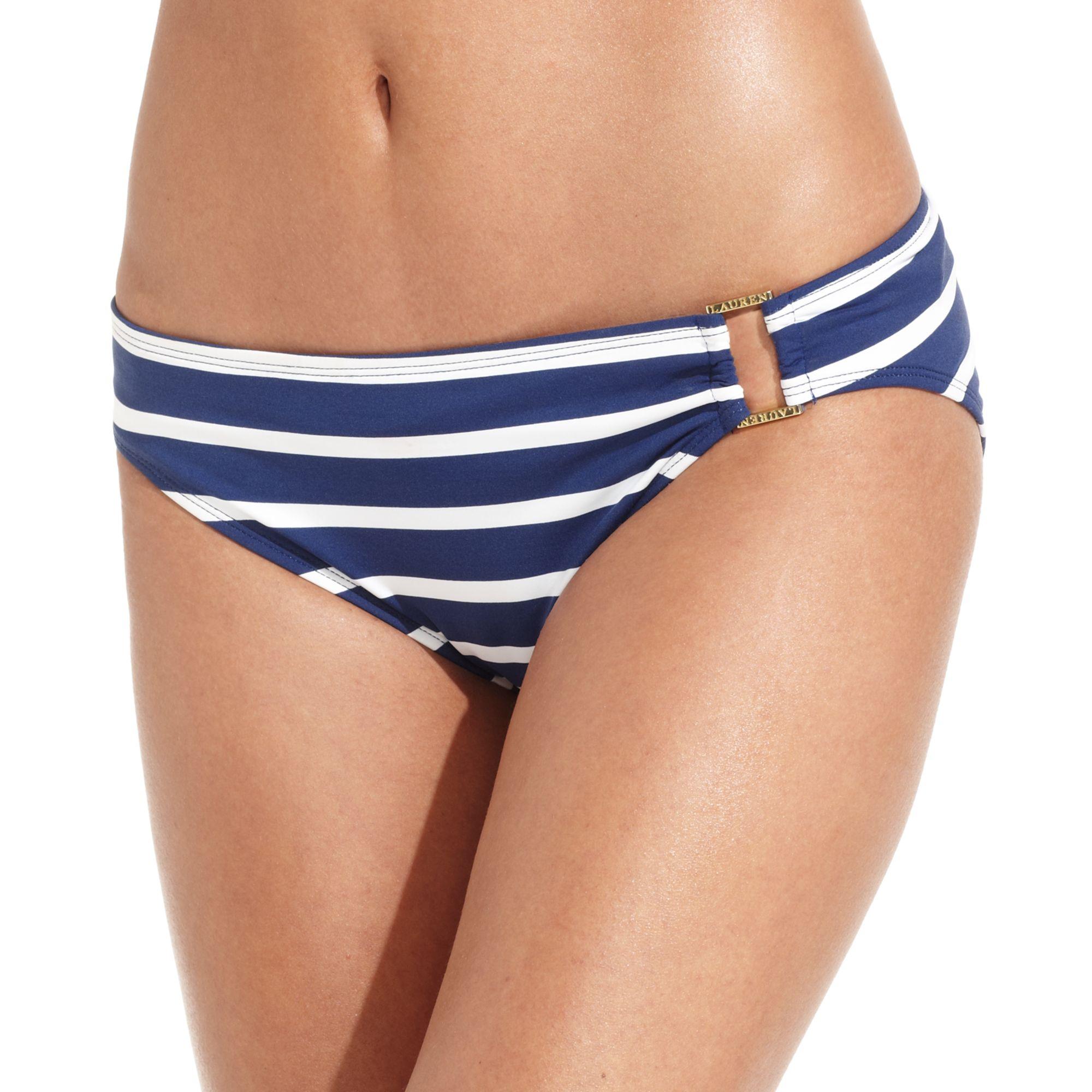20c6dc902d535 Lyst - Lauren by Ralph Lauren Striped Buckle Hipster Bikini Bottom ...