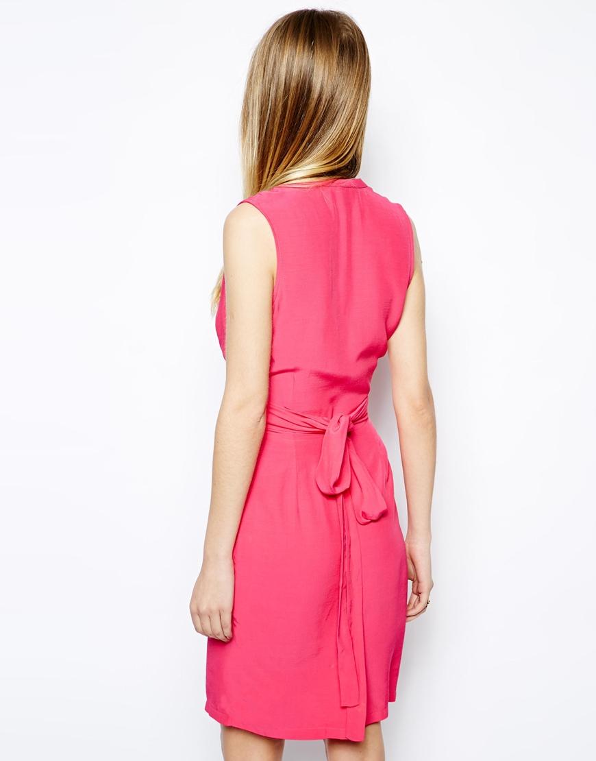 Asos Sleeveless Wrap Dress With Tulip Skirt In Black Lyst