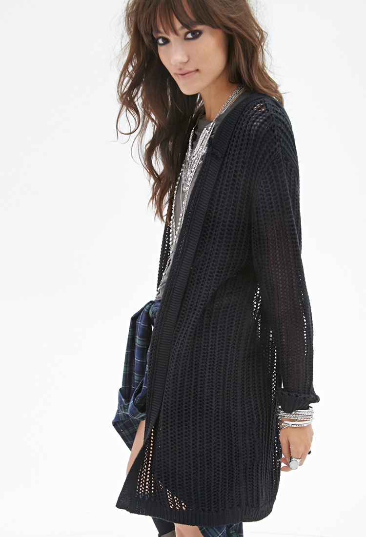 Forever 21 Hooded Open-knit Cardigan in Black | Lyst
