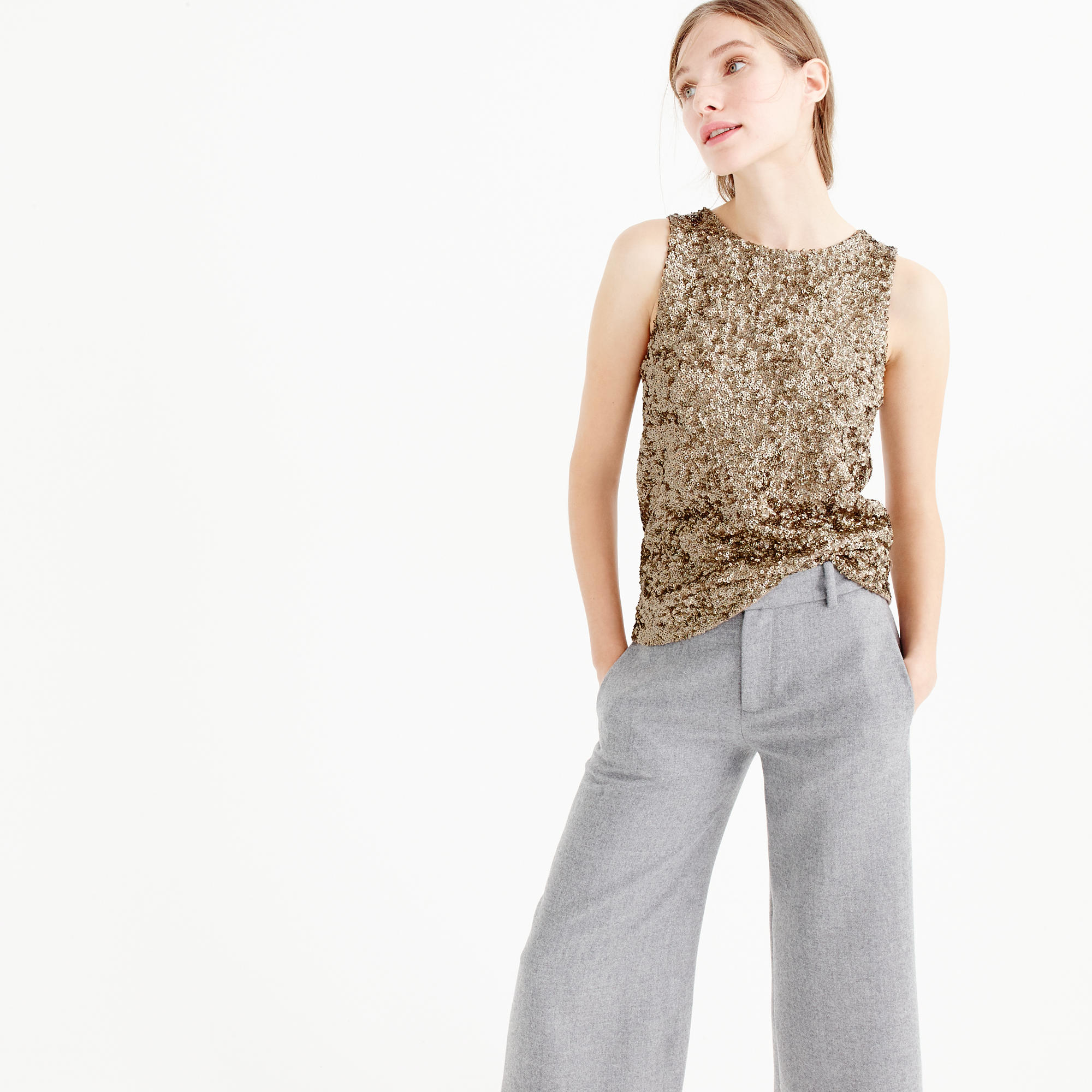 Lyst J Crew Collection Sequin Tank Top In Brown
