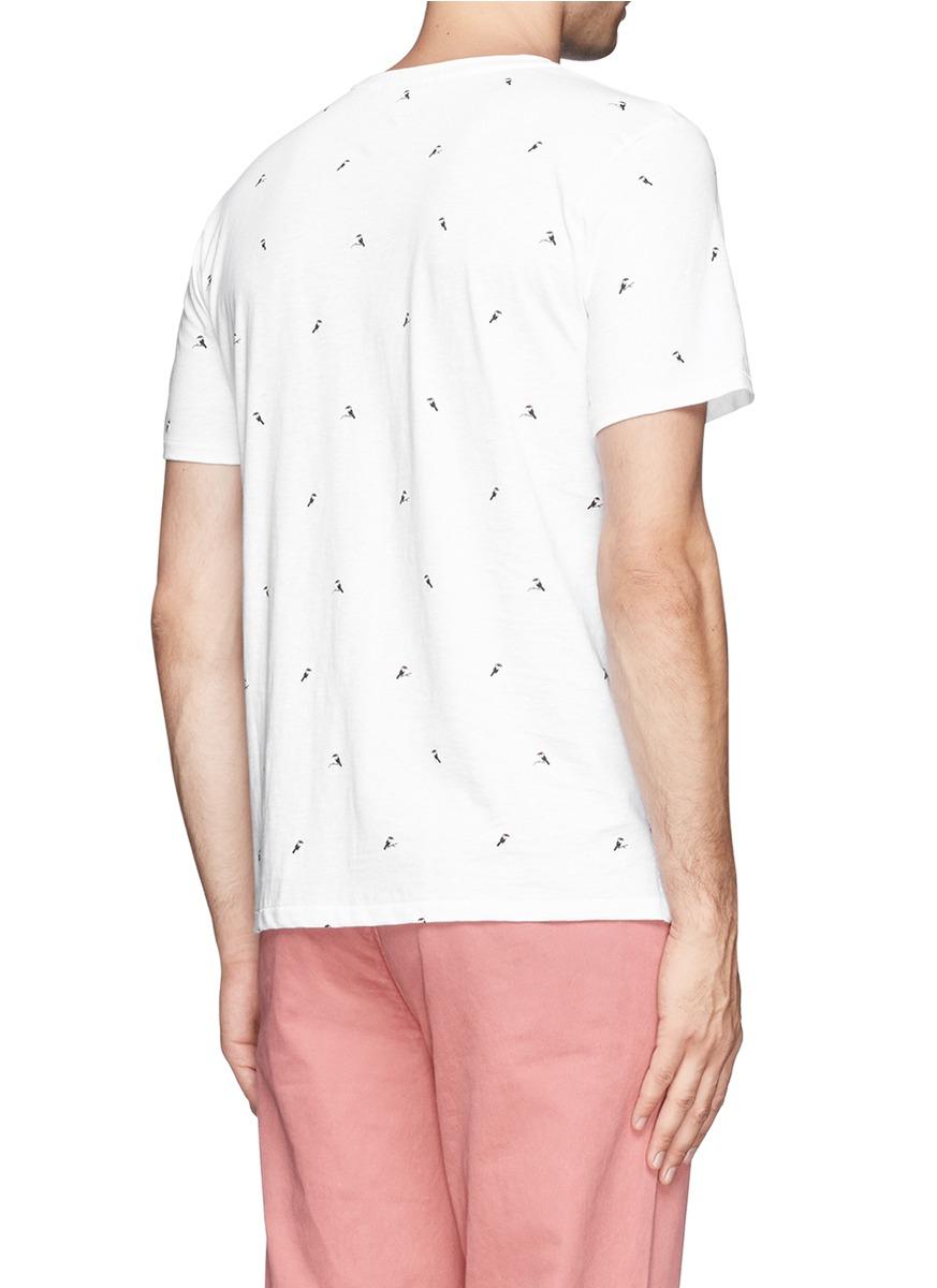 Rag bone toucan print t shirt in white for men lyst for Rag and bone white t shirt