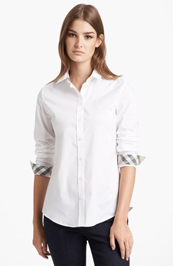 Lyst - Burberry Brit Shirt With Check Contrast in White 018583bdfb