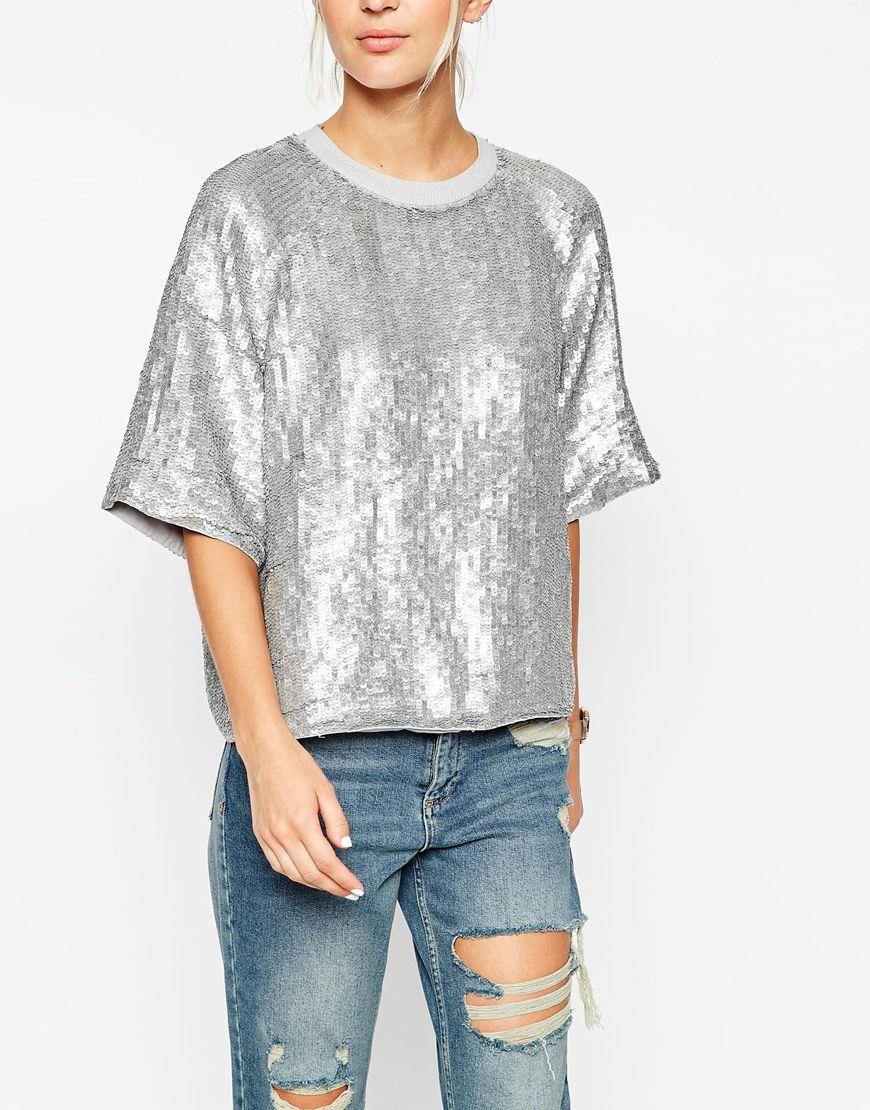 Lyst asos glitter sequin silver sweat t shirt in metallic for Silver metallic shirt women s