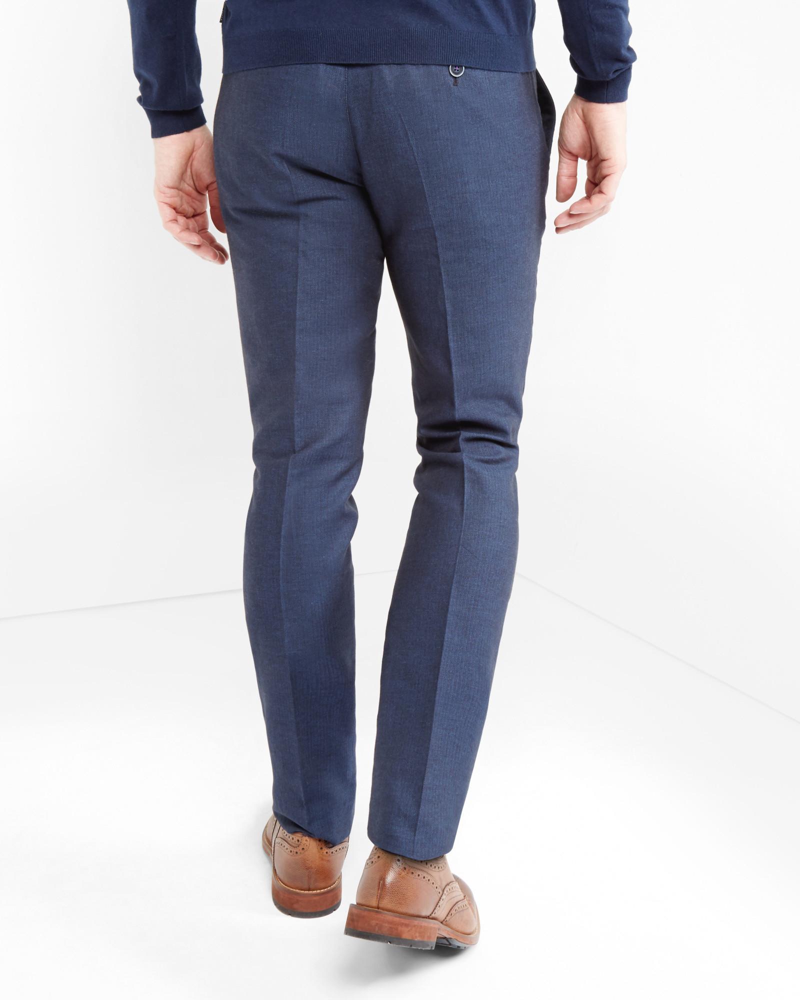 8b816a24226db0 Lyst - Ted Baker Linen Herringbone Pants in Blue for Men
