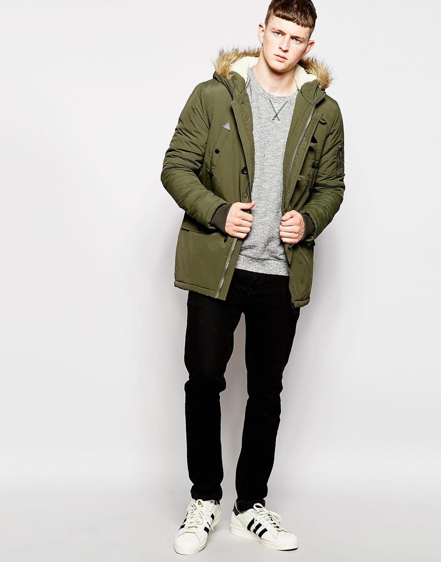 lyst brave soul parka jacket faux fur hooded jacket in. Black Bedroom Furniture Sets. Home Design Ideas