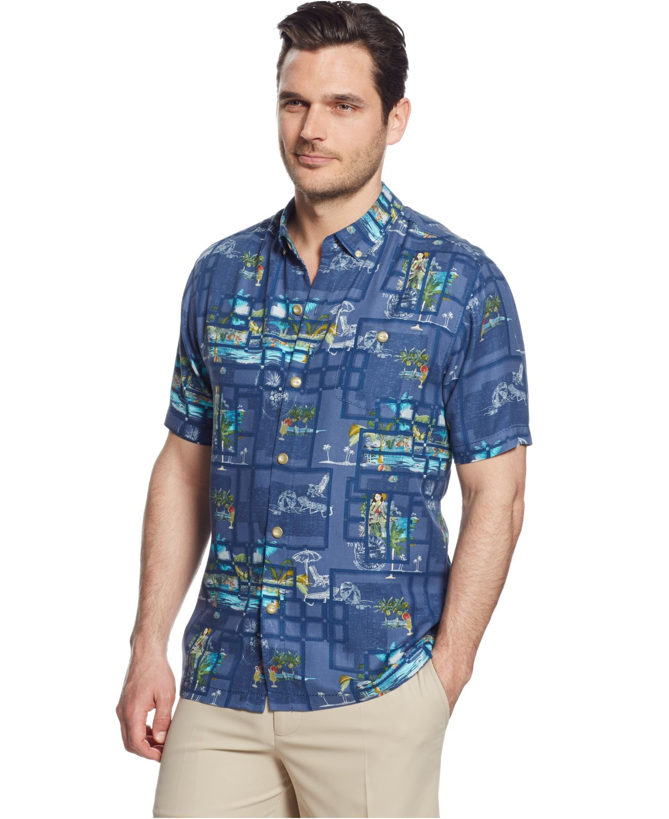 Tommy Bahama Big And Tall Insta Paradise Silk Shirt In