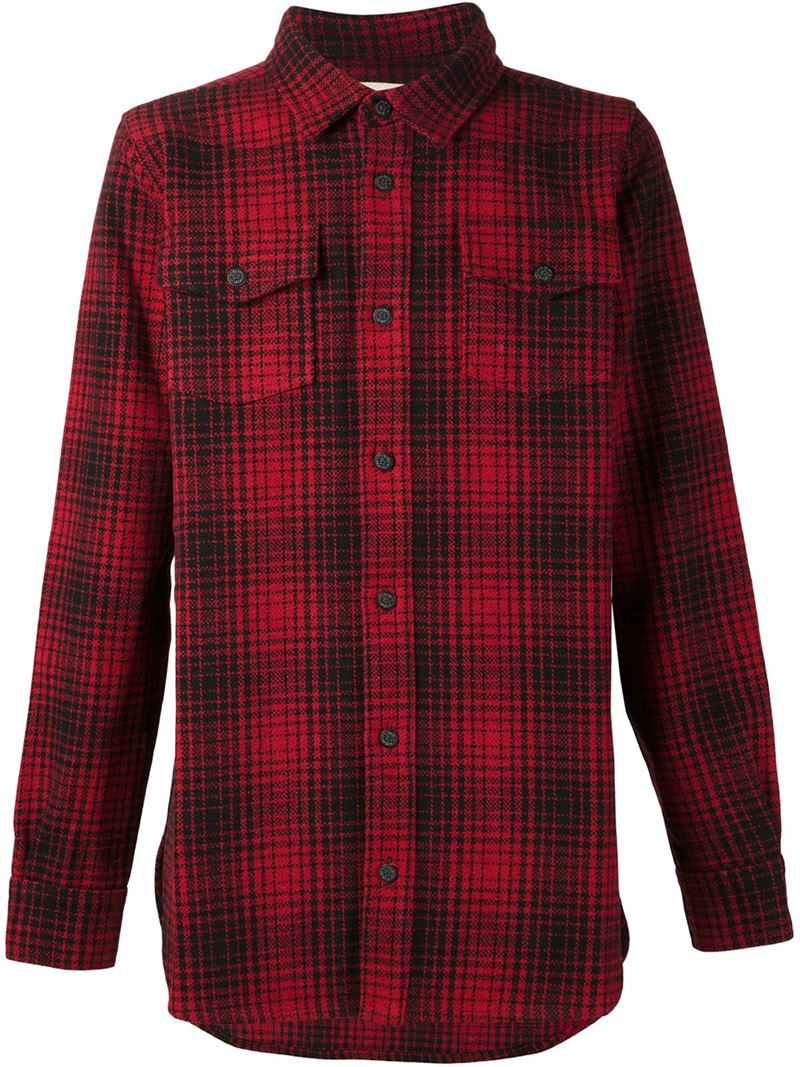 Lyst off white c o virgil abloh plaid shirt in red for men for Red and white plaid shirt mens