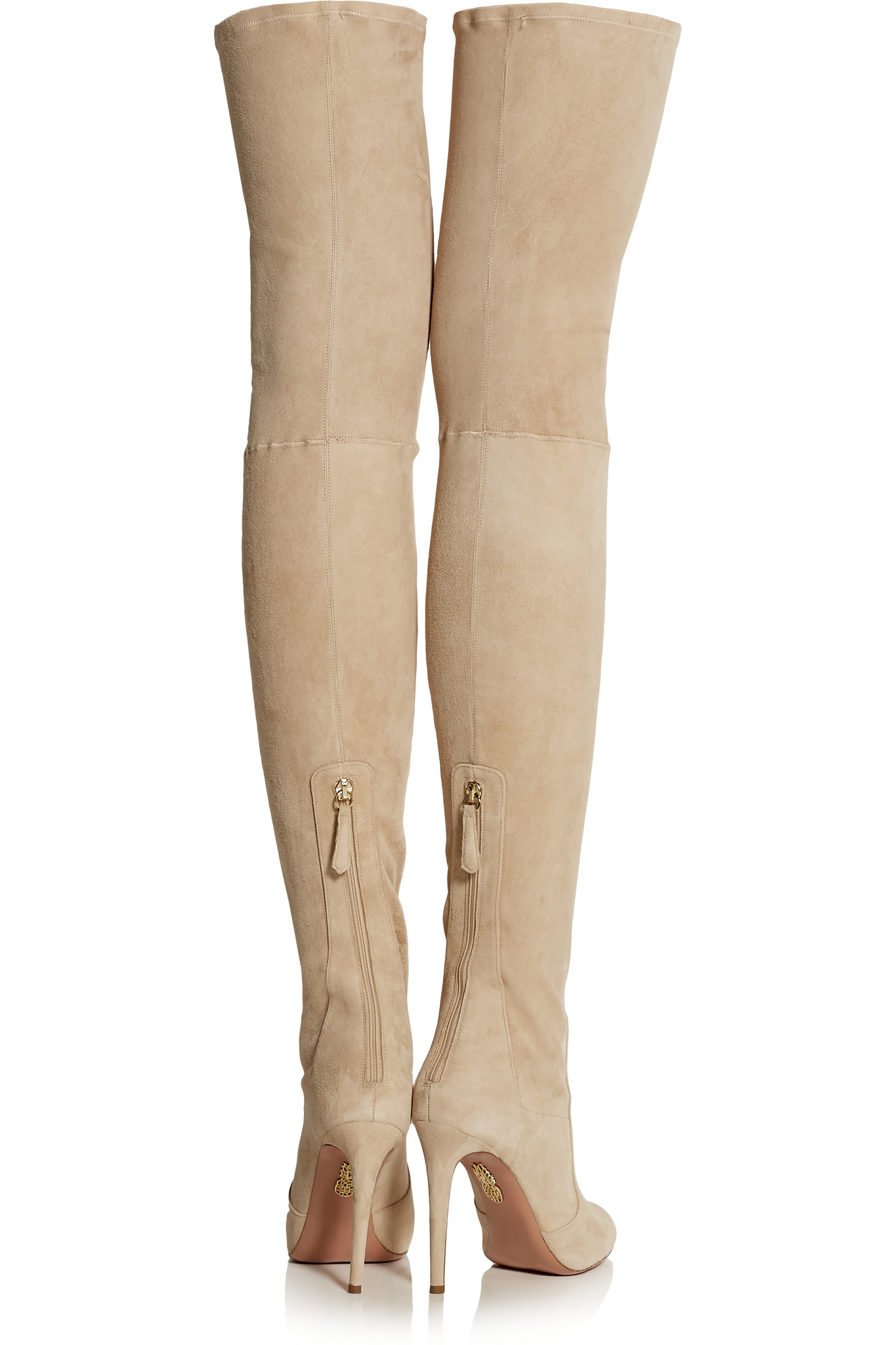 a785bad7fa5 Aquazzura Suede Over-the-knee Boots in Natural - Lyst