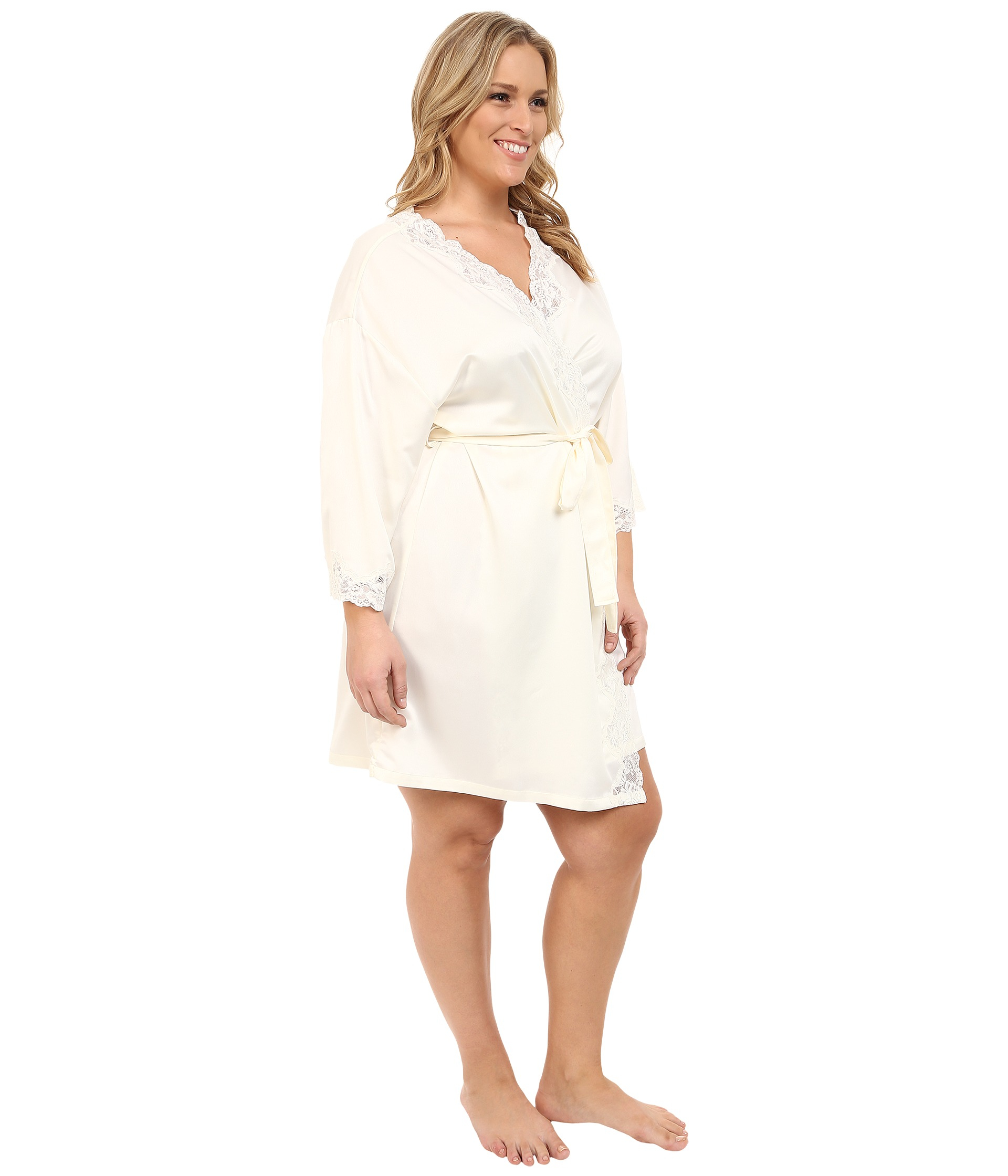 lauren by ralph lauren plus size satin wrap robe in white lyst. Black Bedroom Furniture Sets. Home Design Ideas