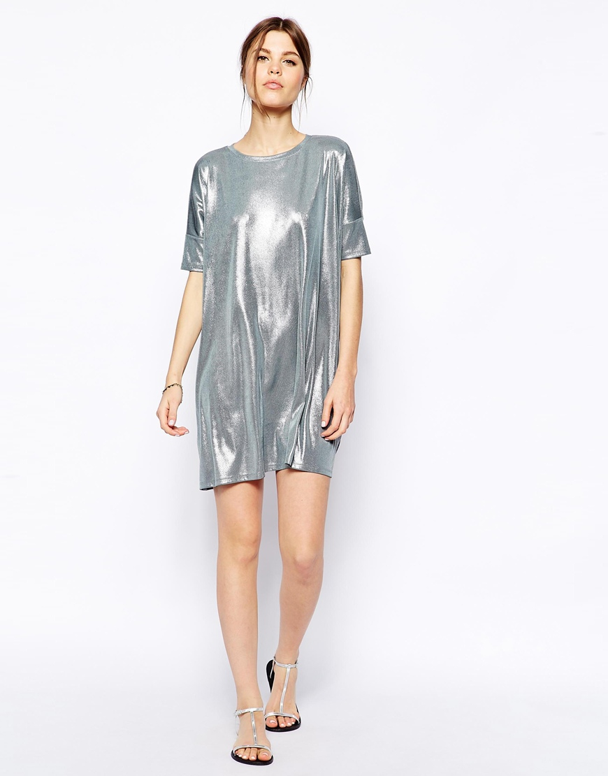 metallic t shirt dress