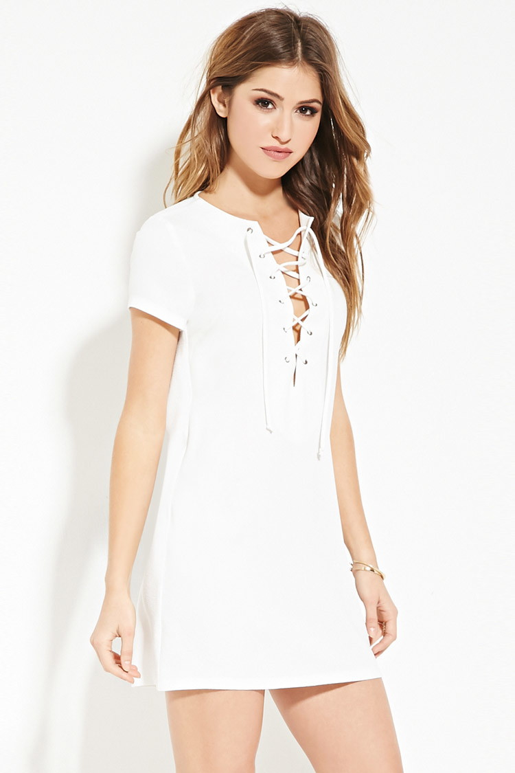 ce940cd4d6 Lyst - Forever 21 Lace-up Shift Dress in White