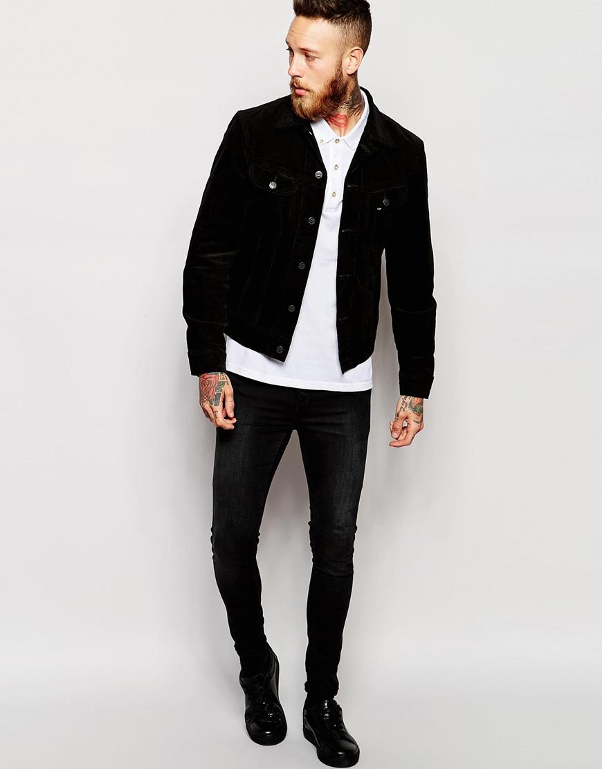 Lee jeans Denim Jacket Rider Slim Fit Stretch Fine Cord in Black ...