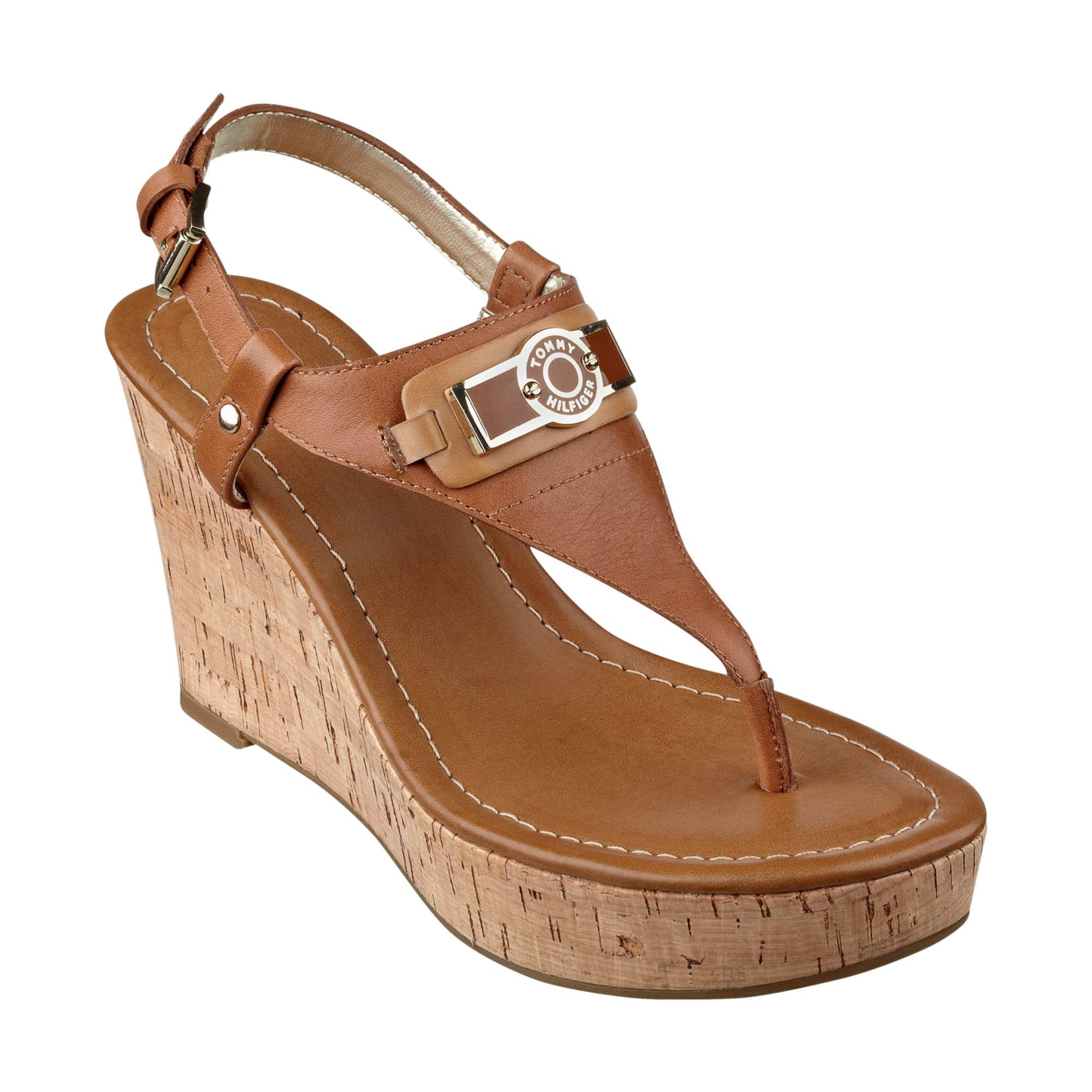 tommy hilfiger womens monor platform wedge thong sandals in brown luggage lyst. Black Bedroom Furniture Sets. Home Design Ideas