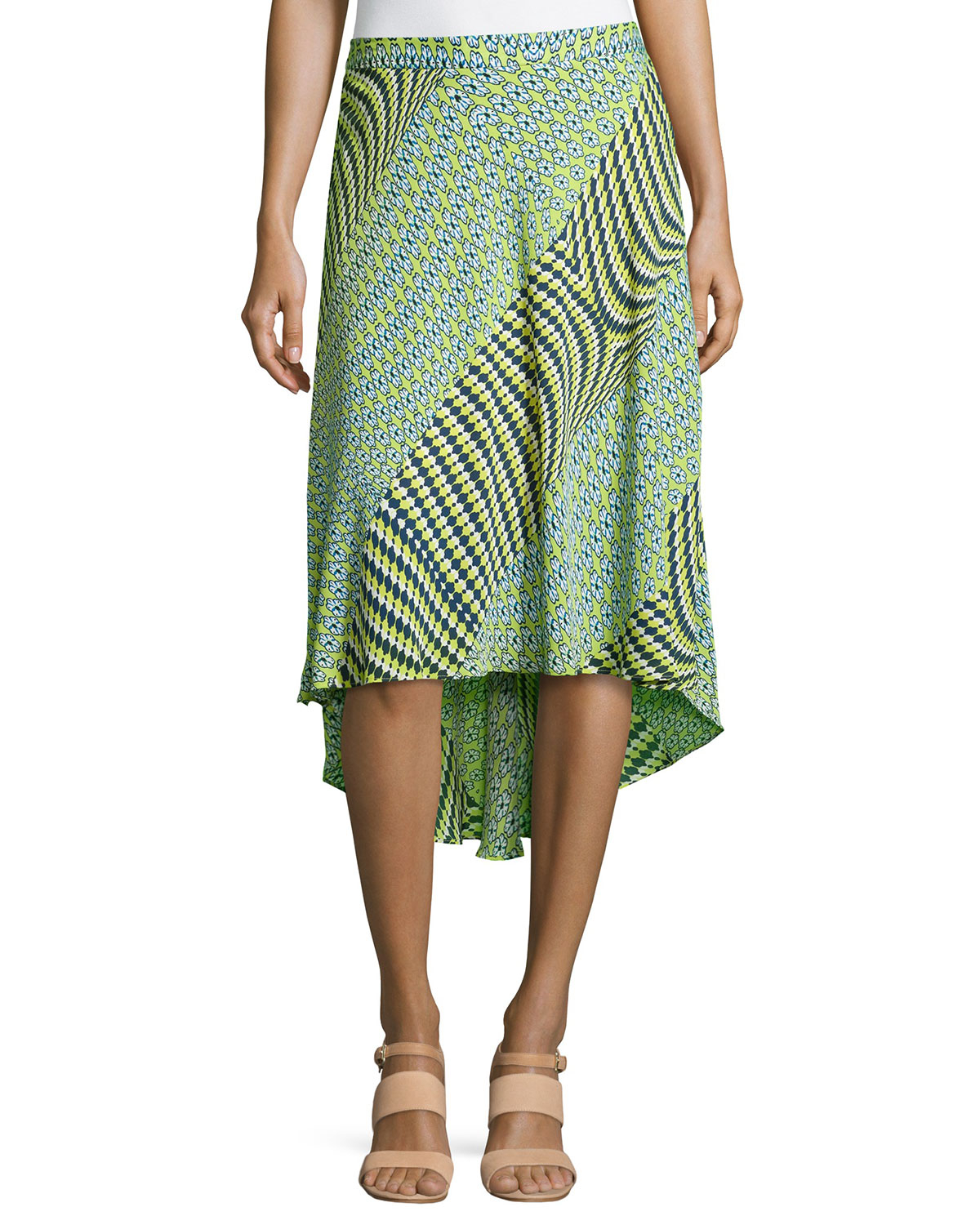 laundry by shelli segal mix print high low maxi skirt in