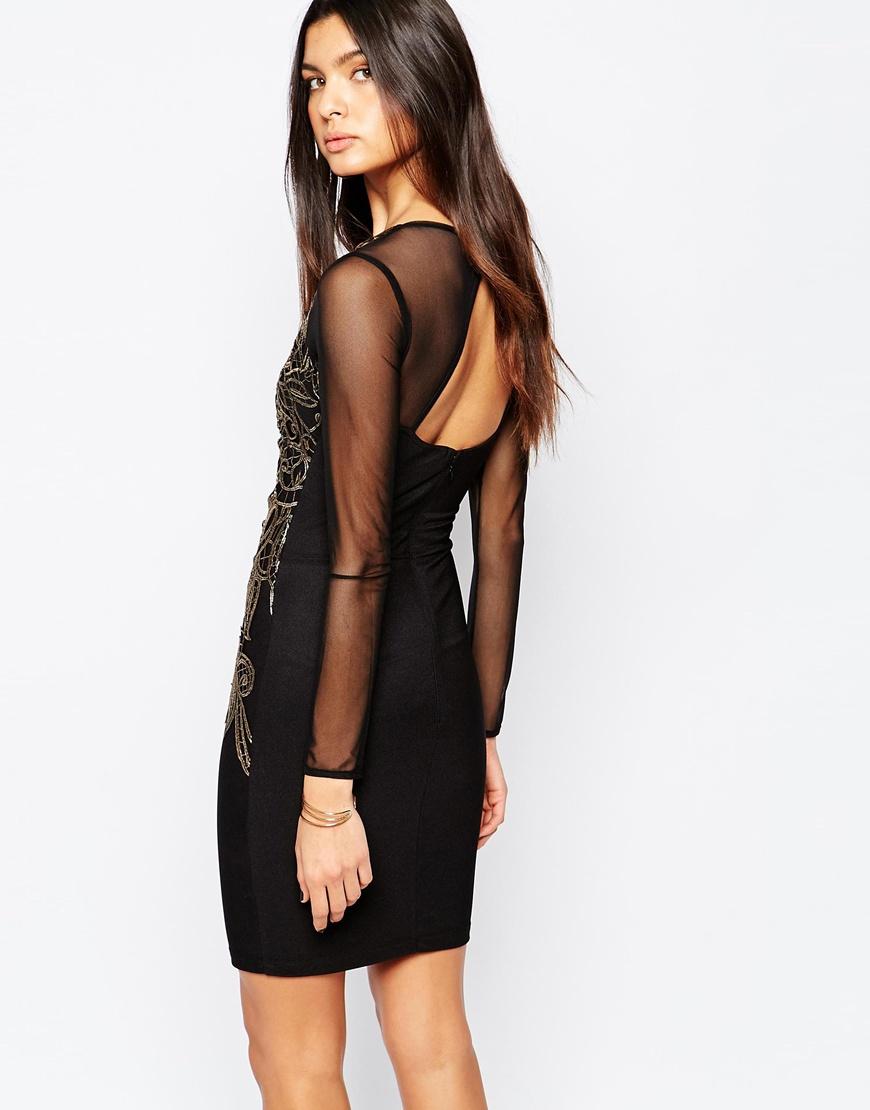 b584e0dc Lyst Lipsy Mice Keegan Loves Lace Applique Front Bodycon Dress