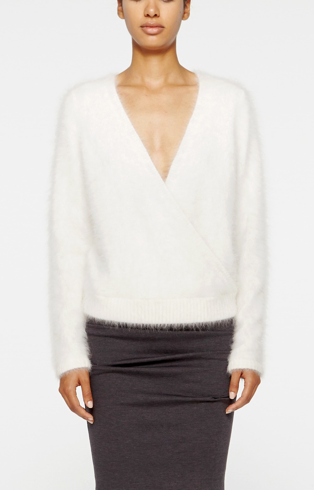 Nicole miller Angora Sweater in White | Lyst