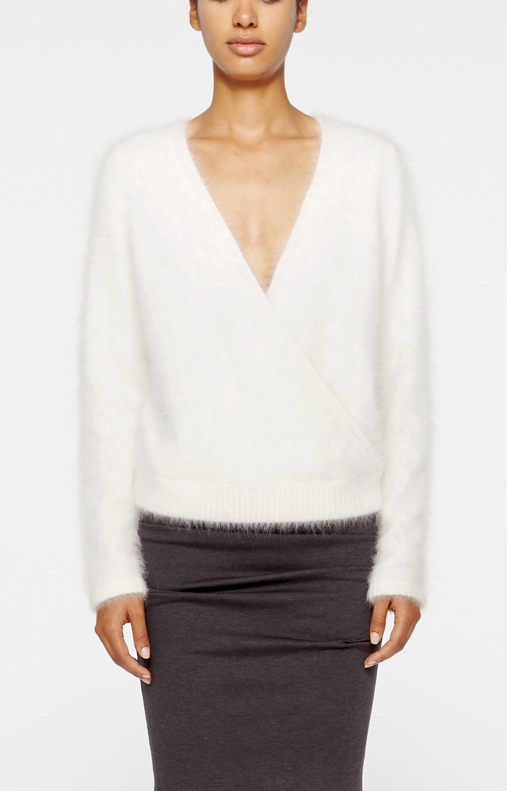 Nicole miller Angora Sweater in White | Lyst