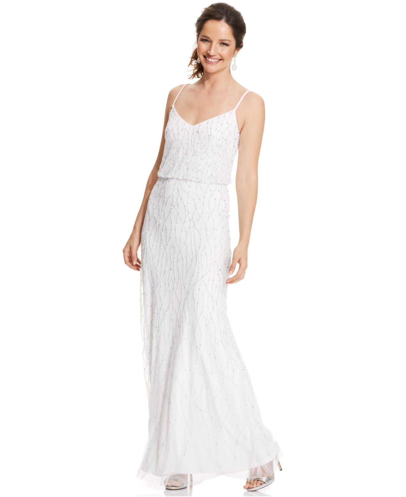 Lyst - Adrianna Papell Sleeveless Beaded Blouson Dress in White