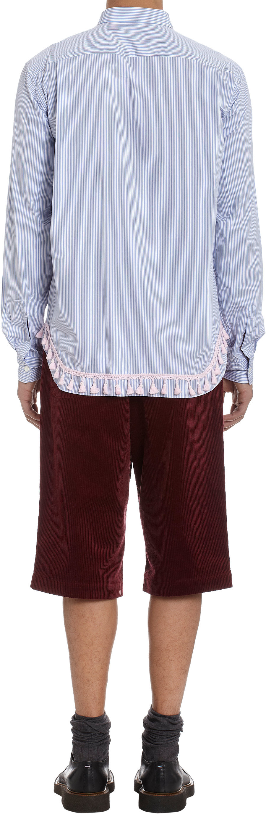 Lyst comme des gar ons tassel bottom shirt in blue for men for Mens shirt with tassels