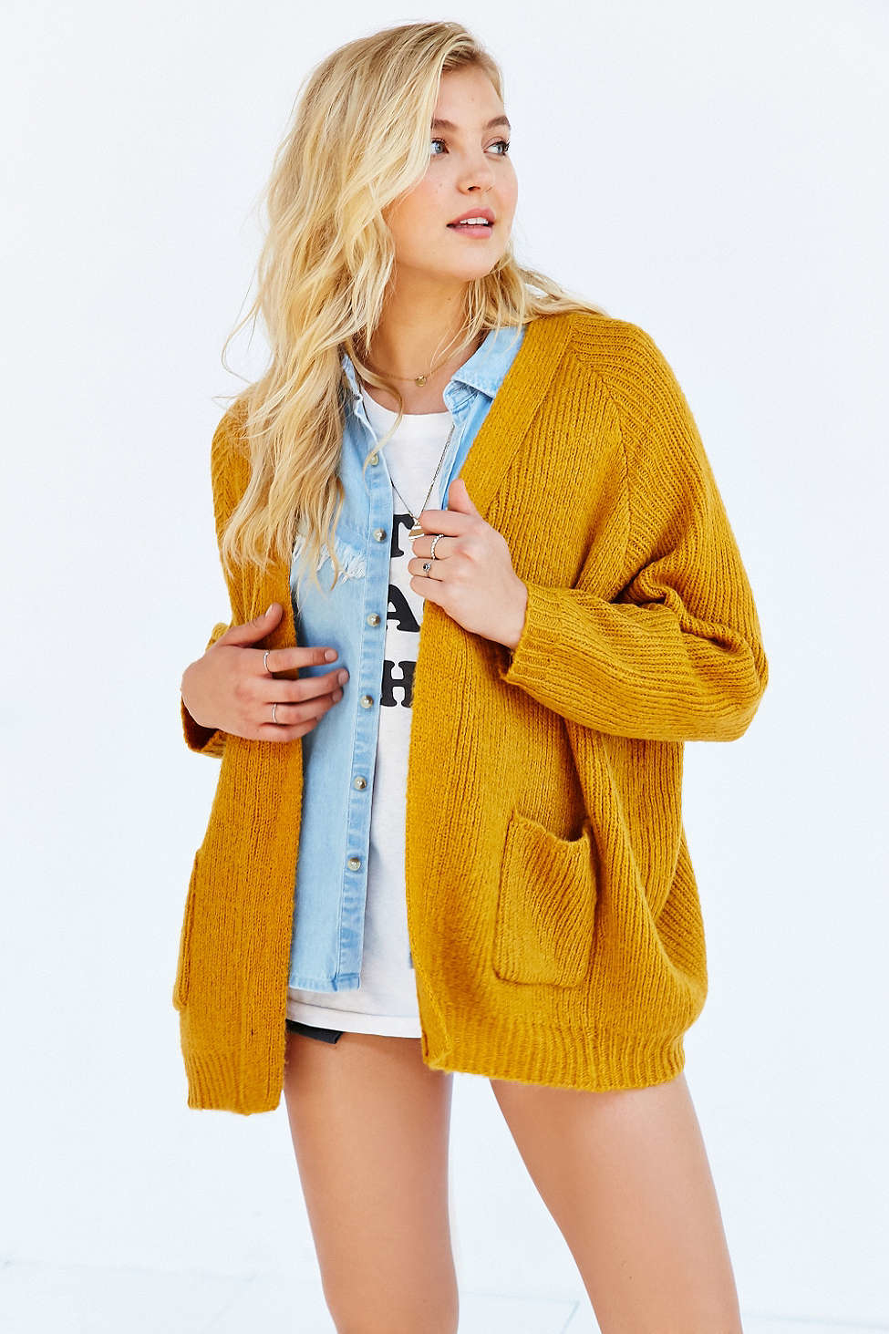 Unif Hole Cardigan in Yellow | Lyst