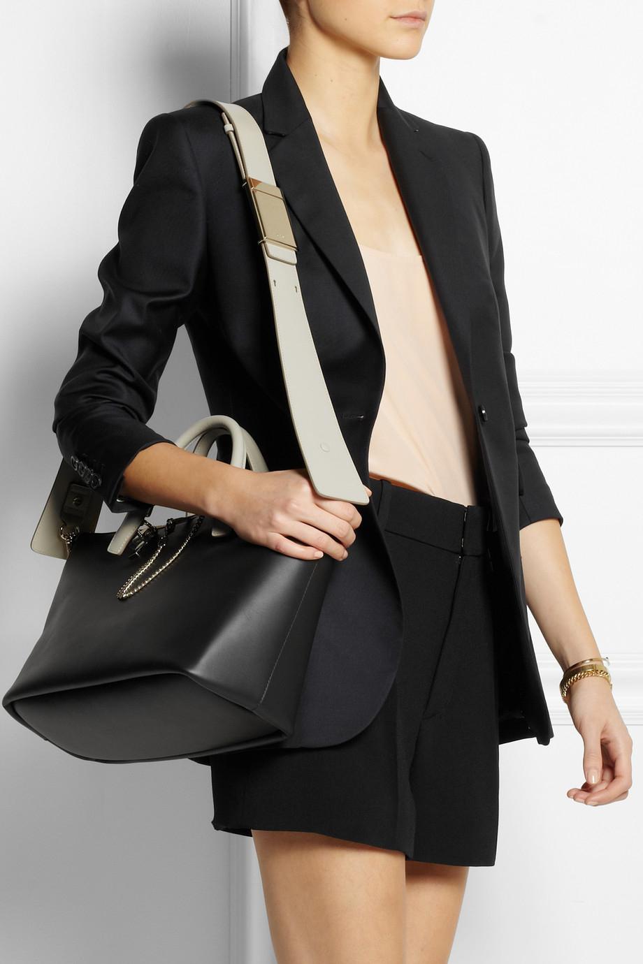 Chlo¨¦ Baylee Medium Leather Tote in Black | Lyst