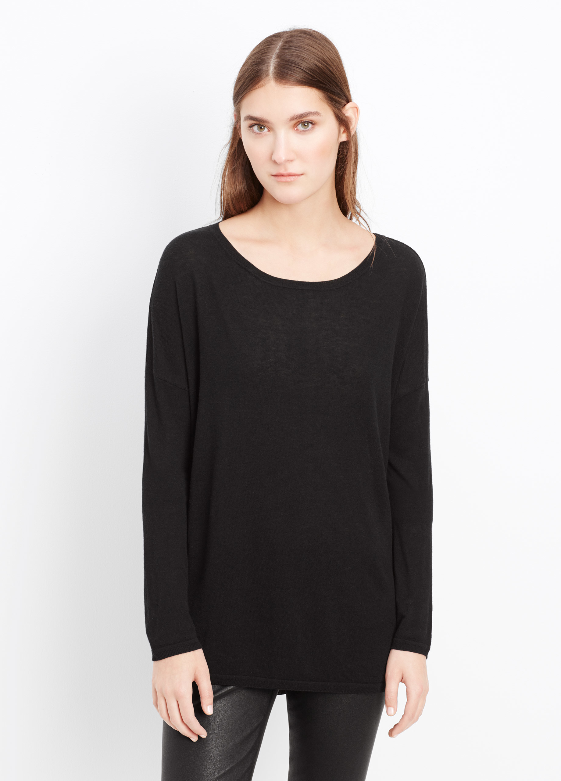 Vince Superfine Merino Blend Open Crew Neck Sweater in Black | Lyst