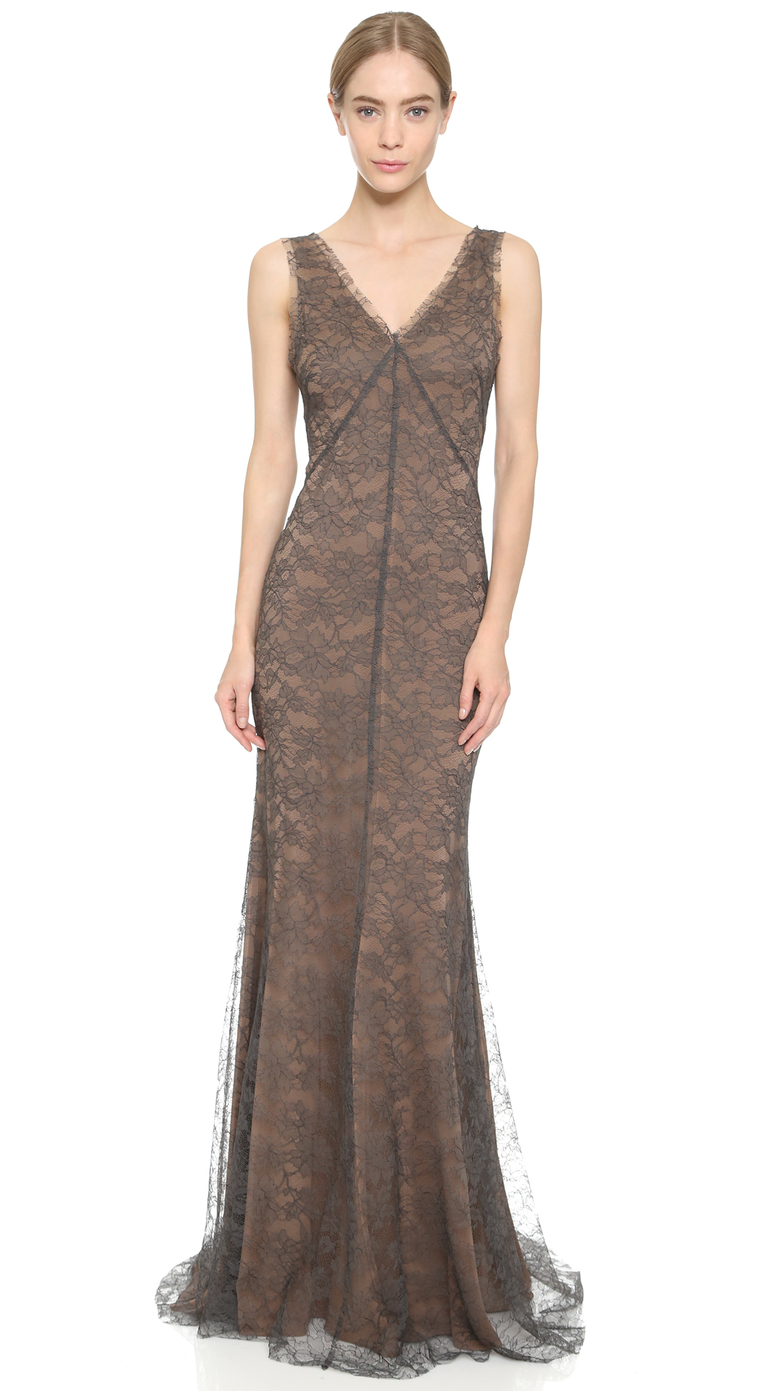 Lyst - Vera Wang Collection Lace Gown - Charcoal in Gray